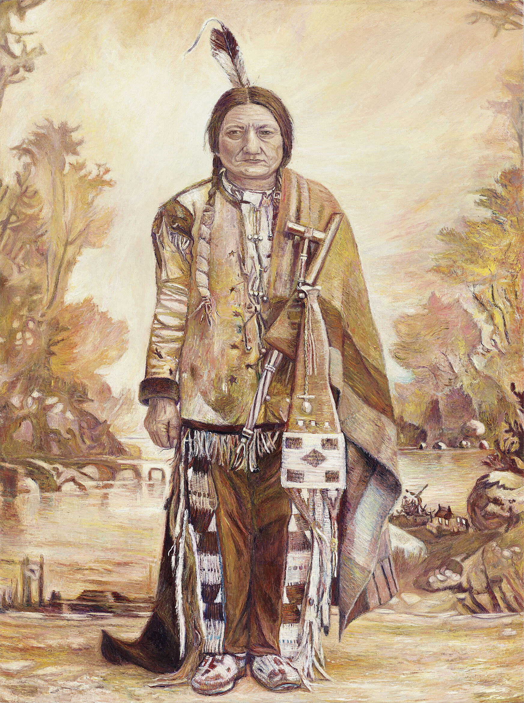 A painting of a person in native american clothing.