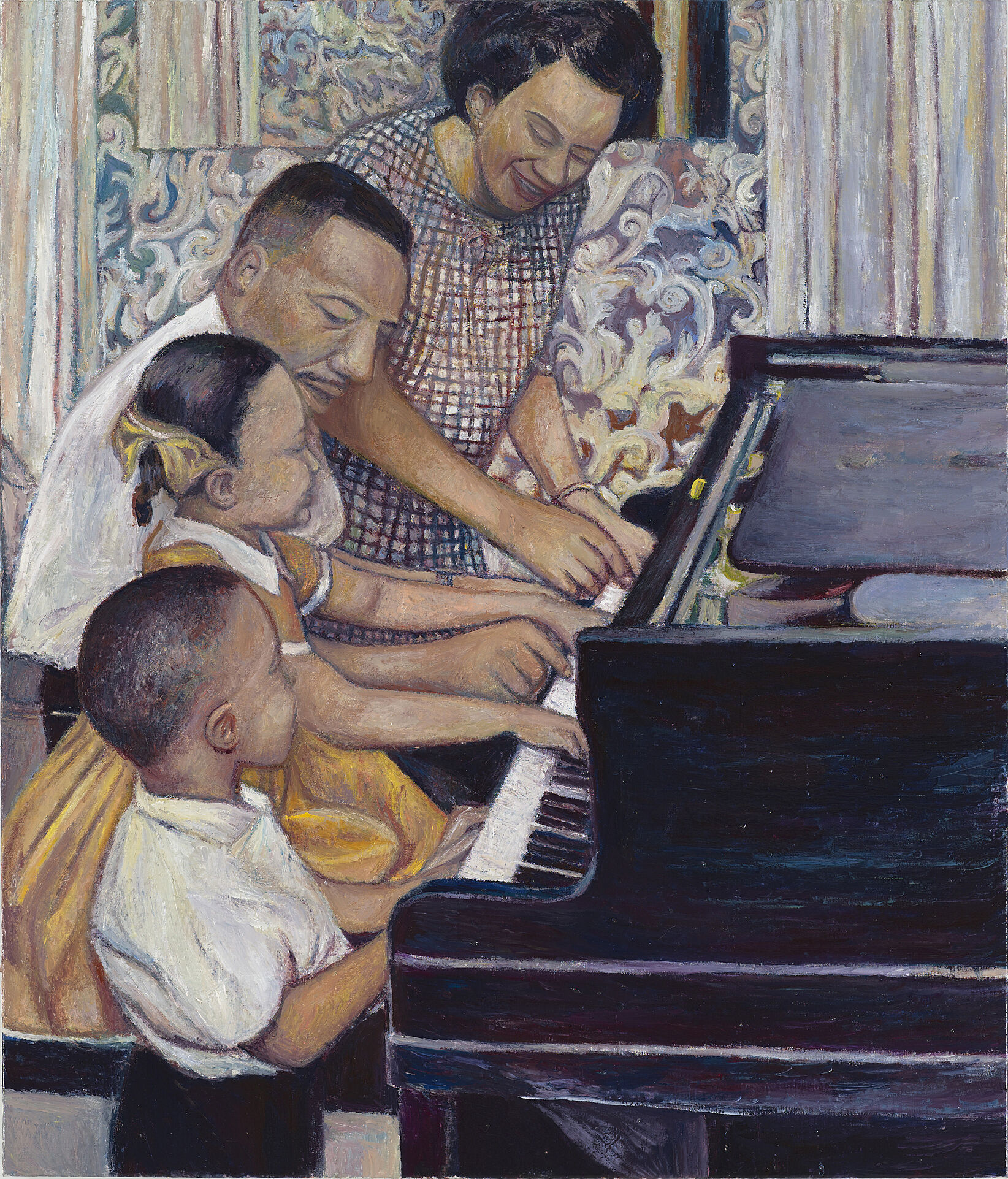 A painting of parents teaching their kids play the piano.