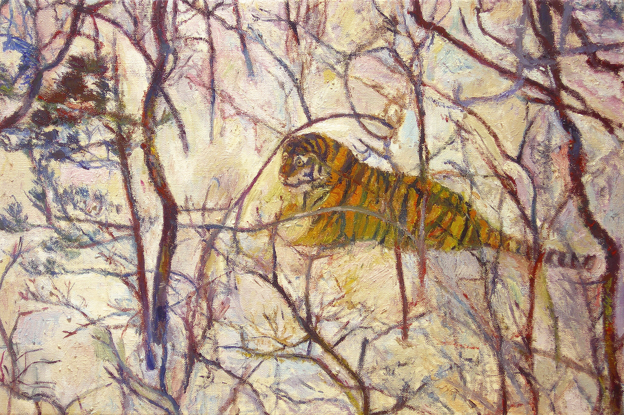 A painting of a tiger walking in the snow.