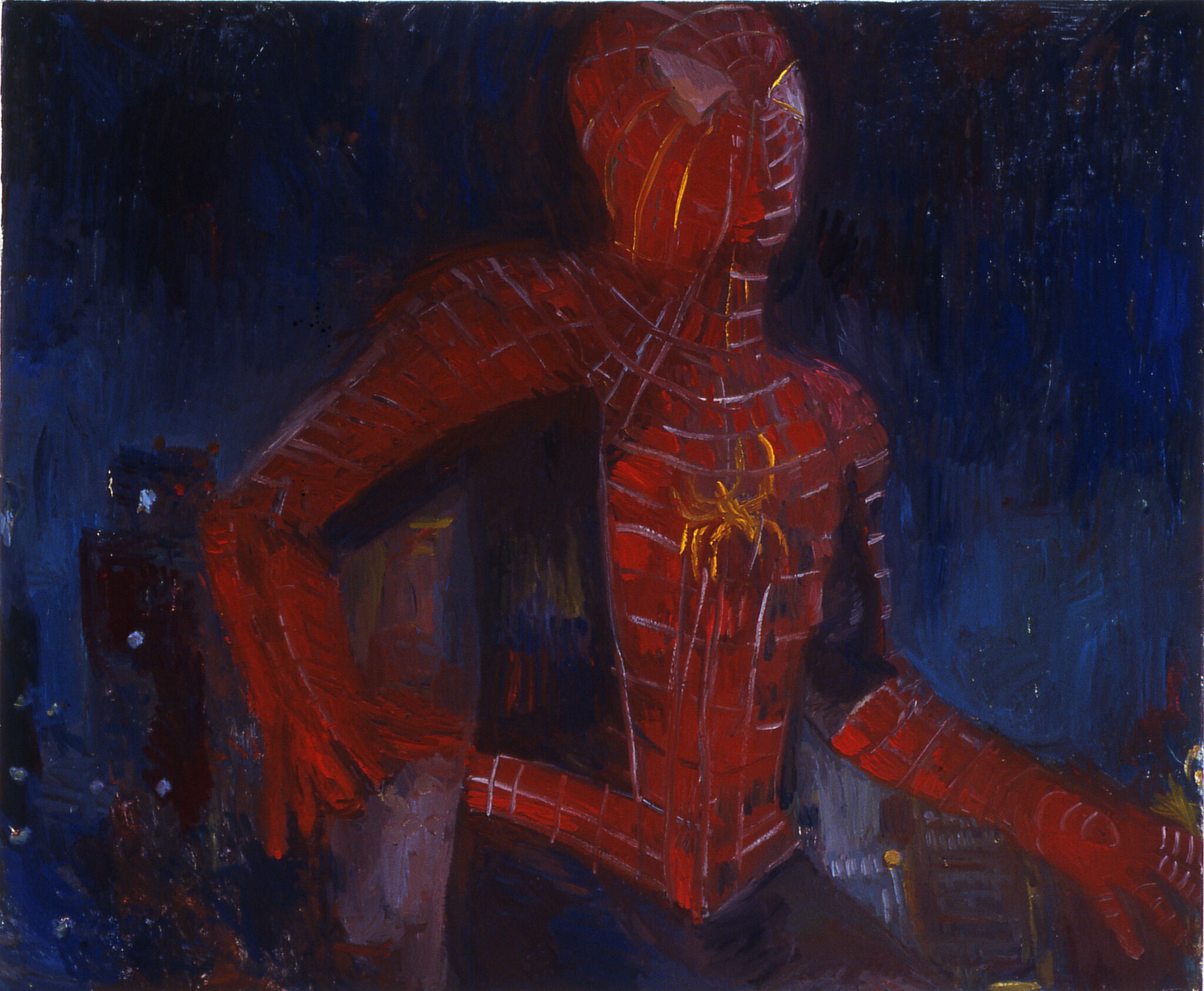 A painting of Spiderman.