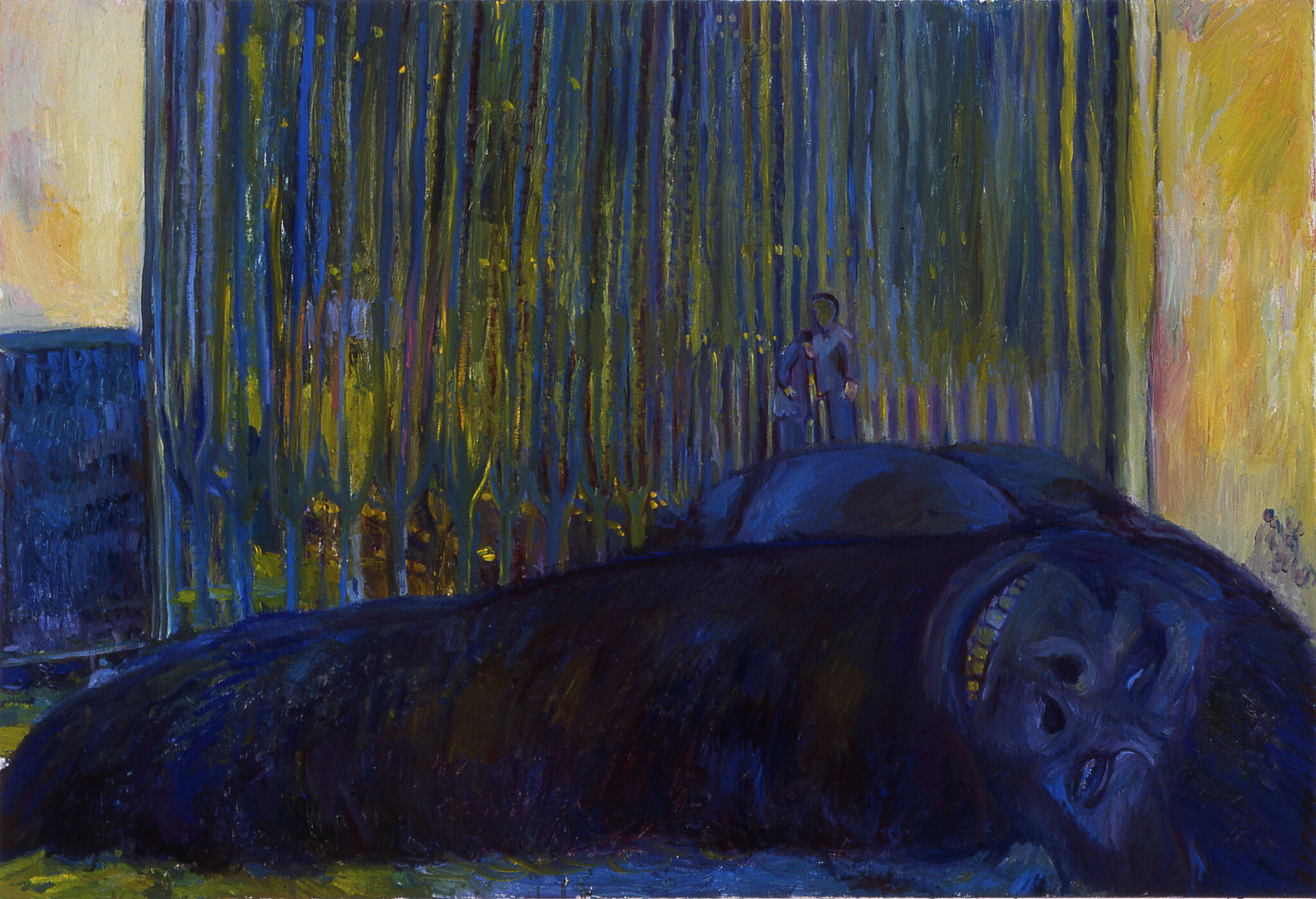 A painting of King Kong lying on the ground.