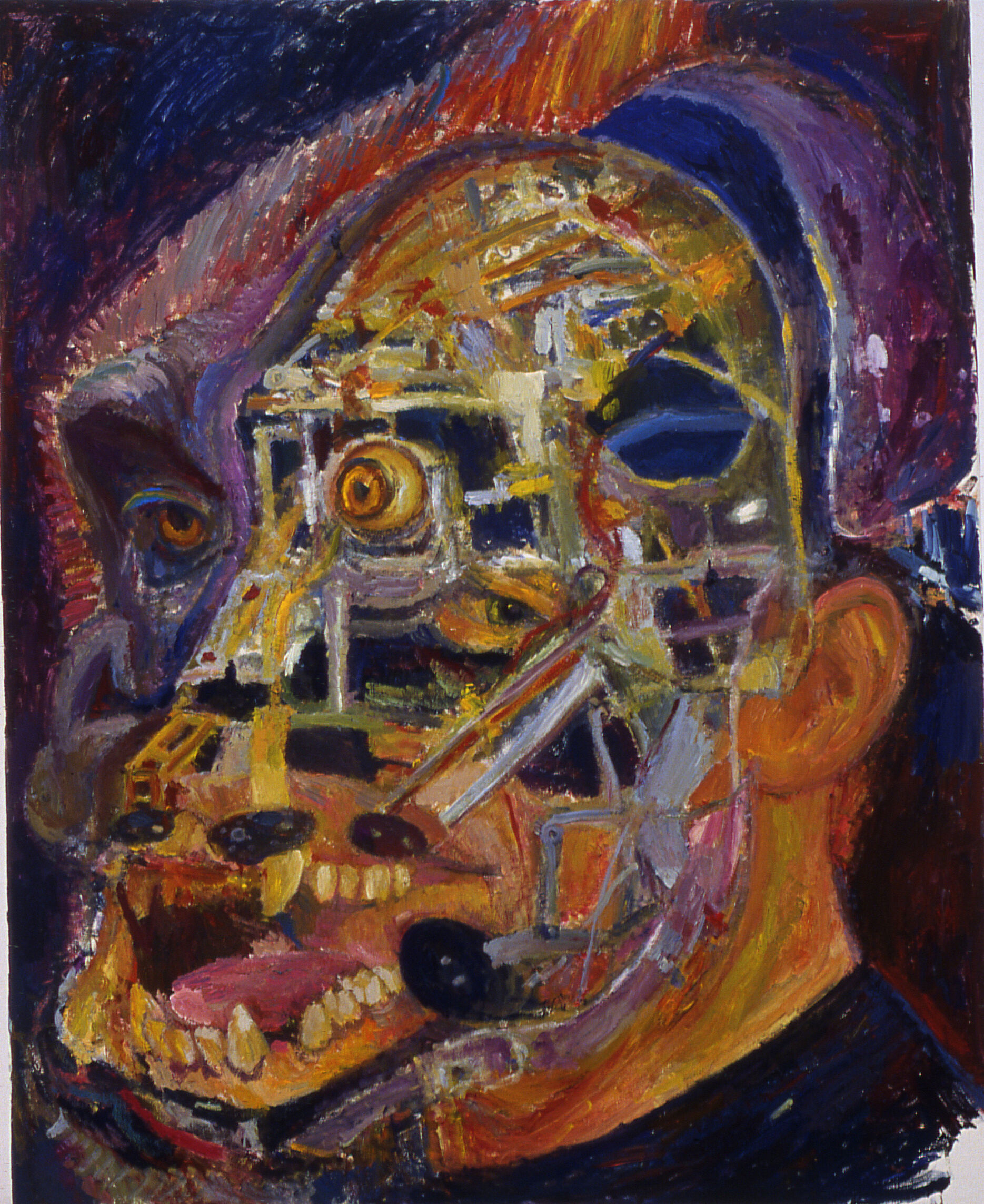 A painting of a portrait of a man with a scary face.