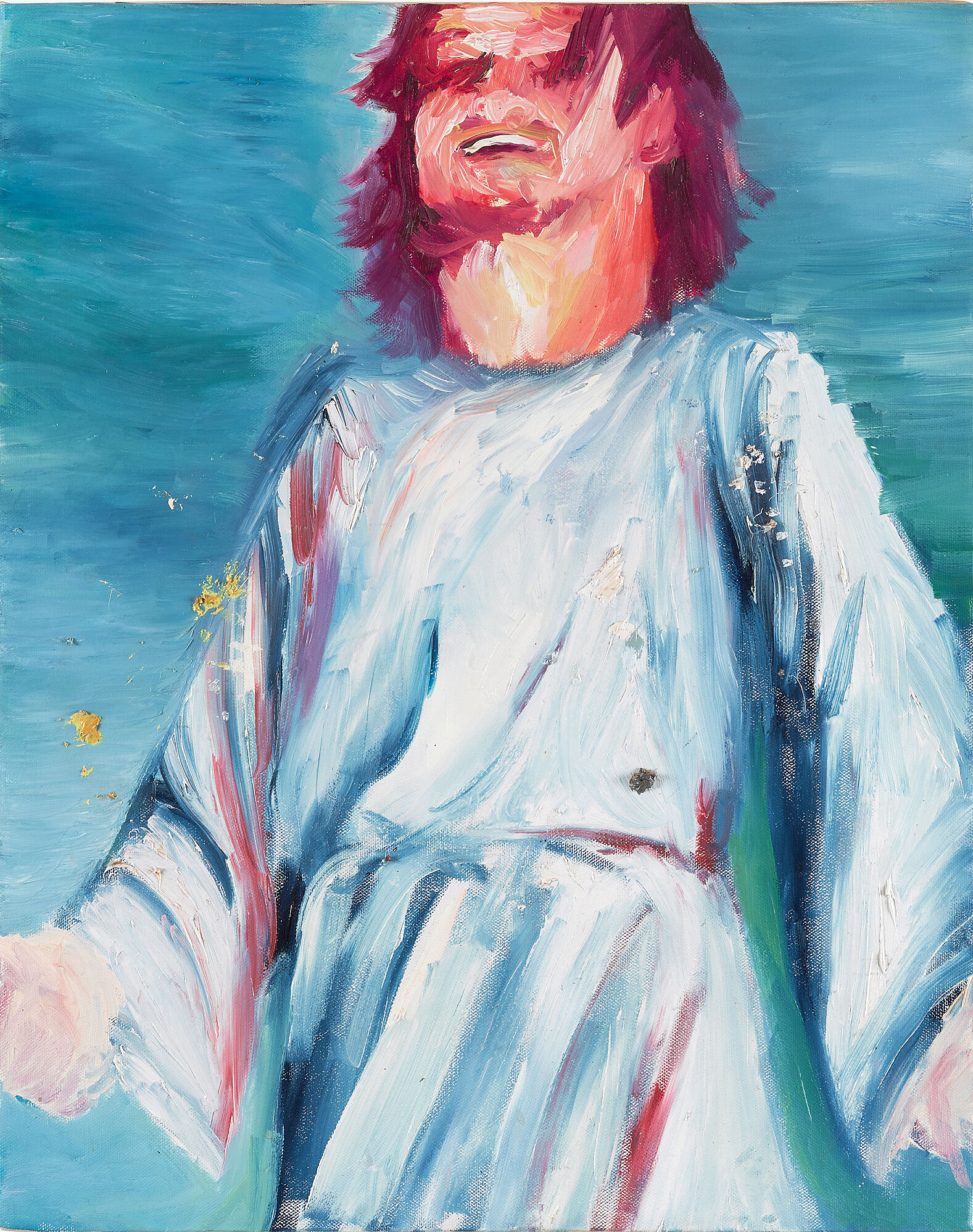A painting of a laughing Jesus Christ.