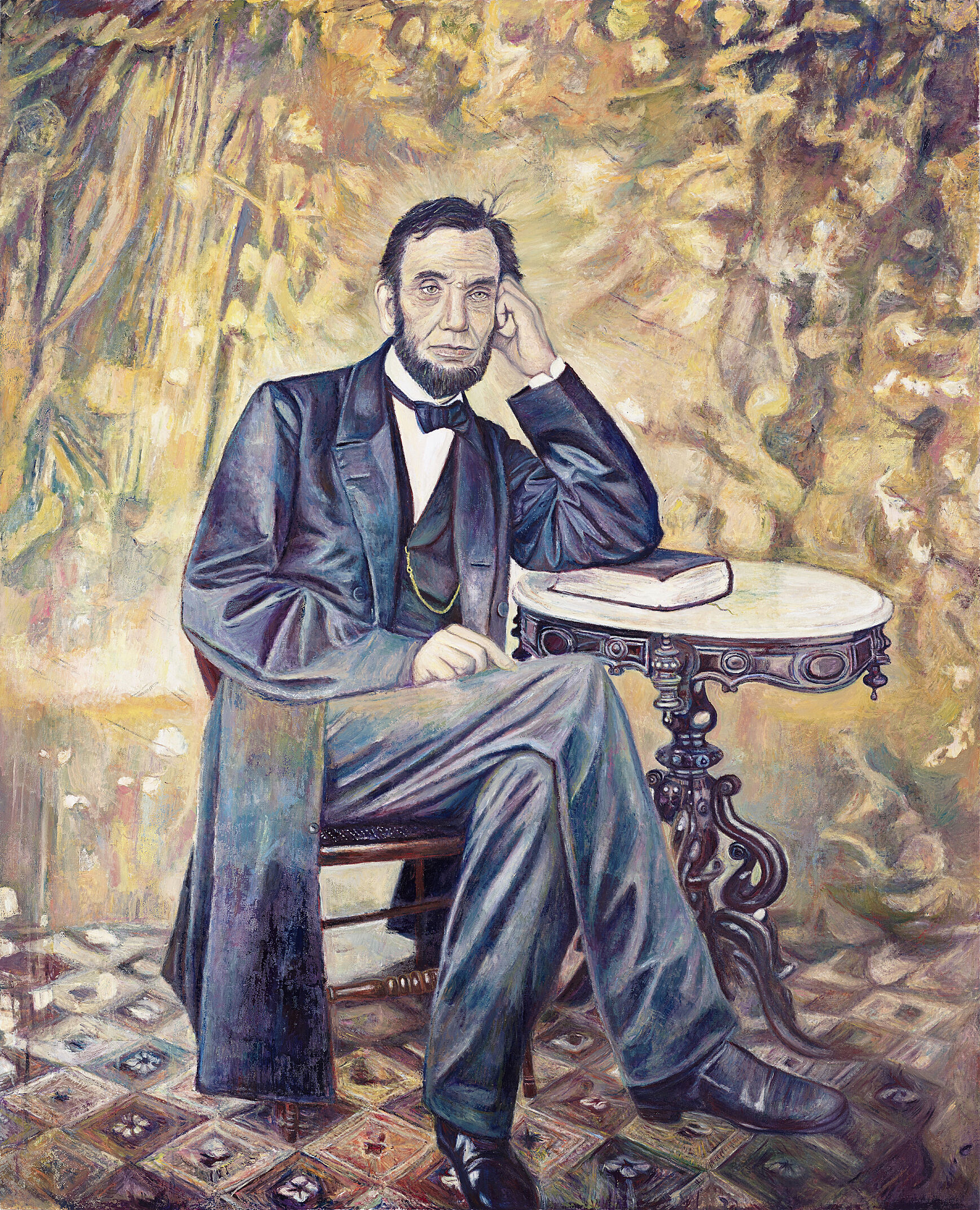 A painting of Abraham Lincoln.