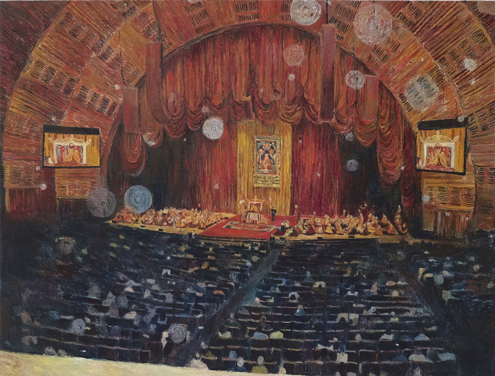 A painting of a view inside Radio City Music Hall.