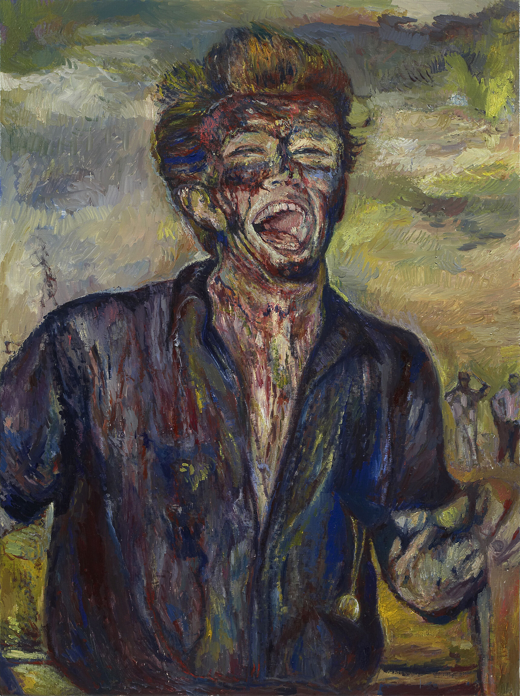 A painting of a man who works at a gusher.