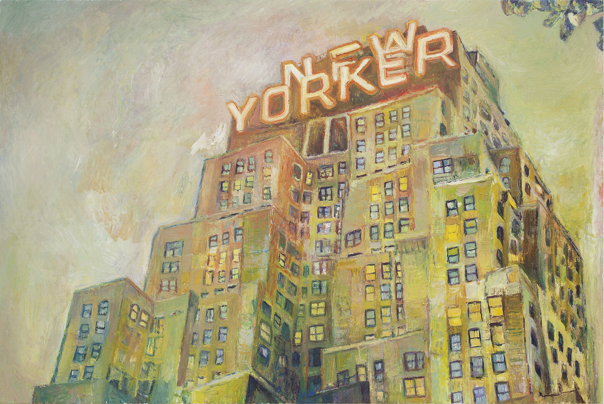 A painting of a building with a neon sign saying New Yorker.