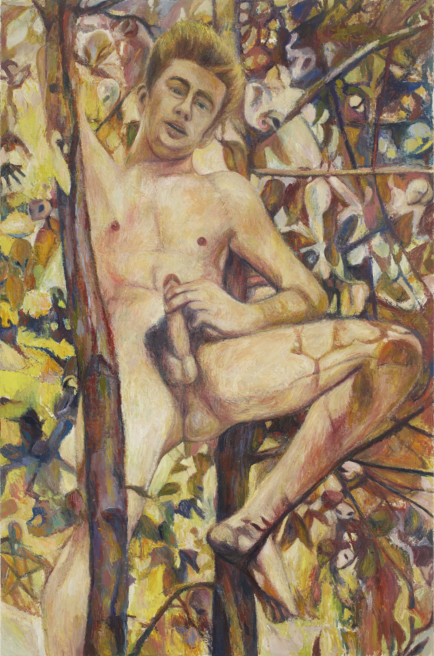A painting of a naked man in a tree.