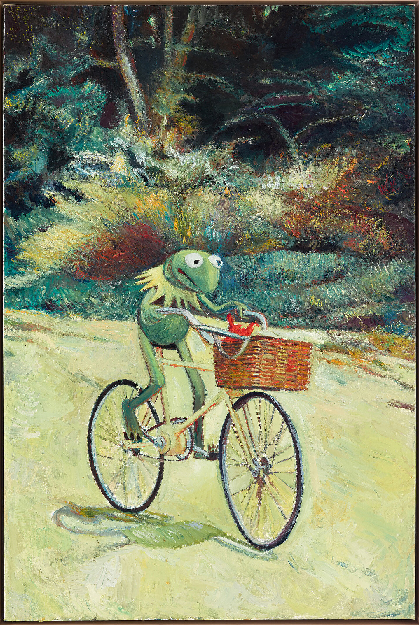 A painting of Kermit the Frog riding a bike.