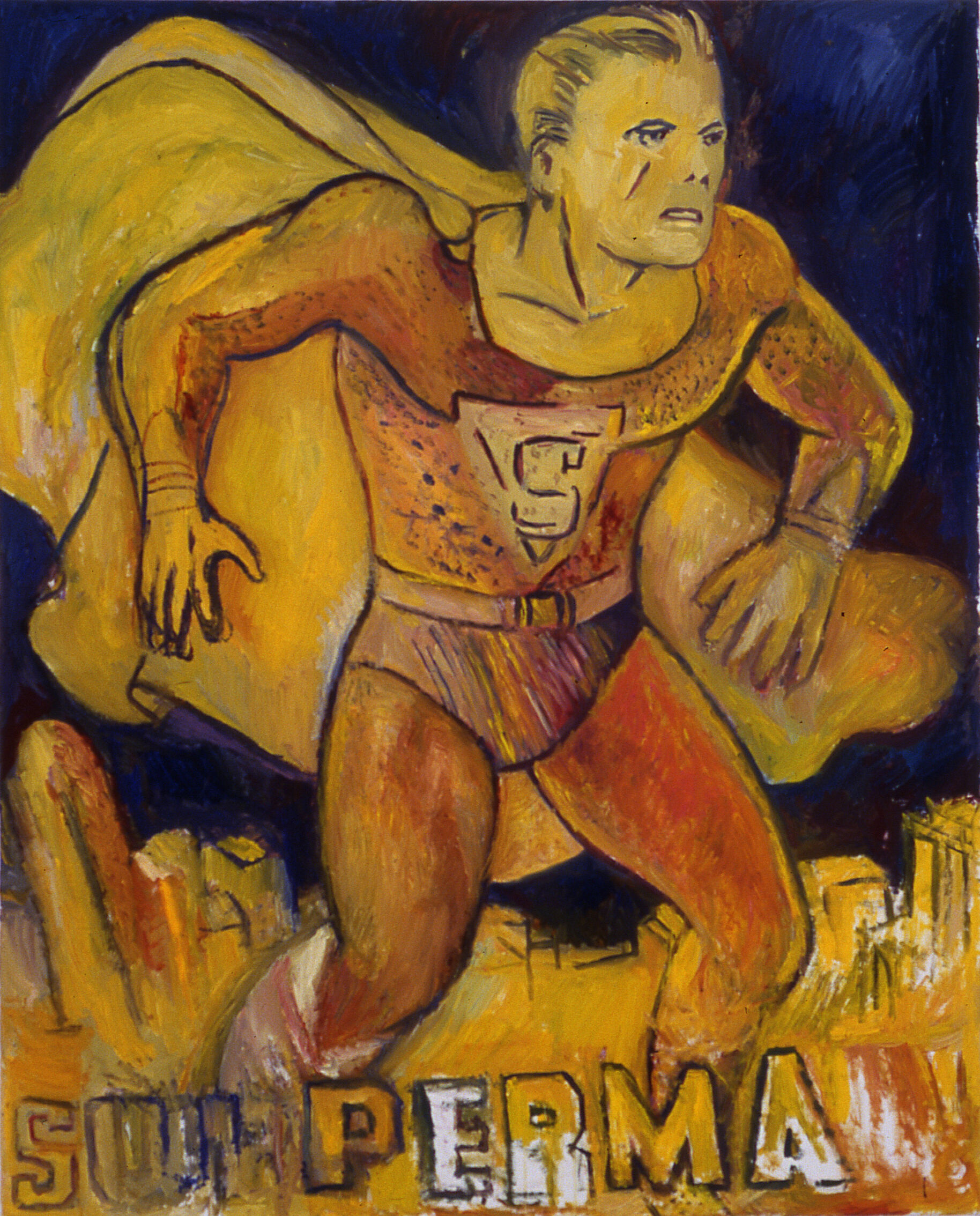 A painting of Superman.