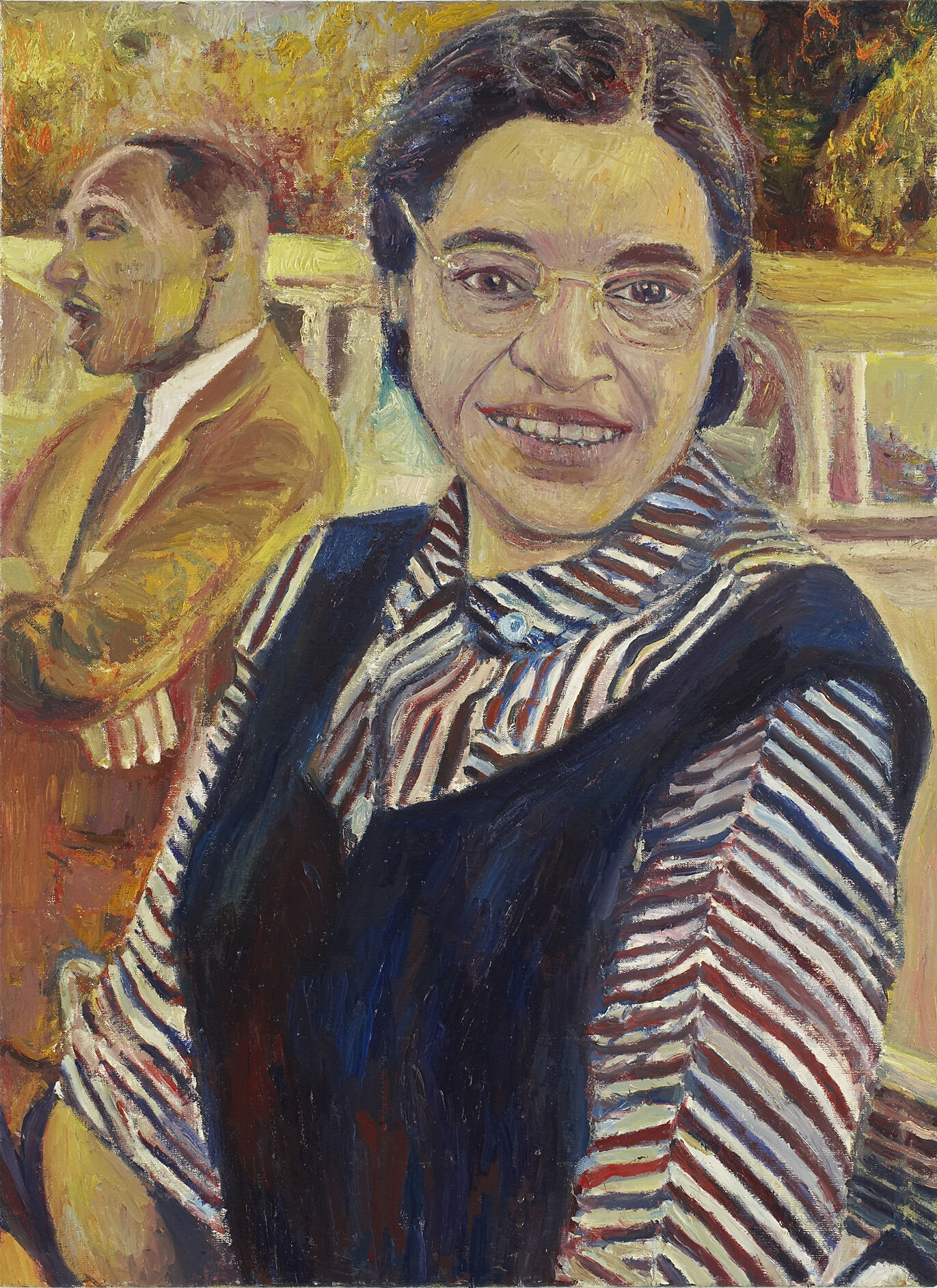 A painting of Rosa Park and Martin Luther King, Jr.