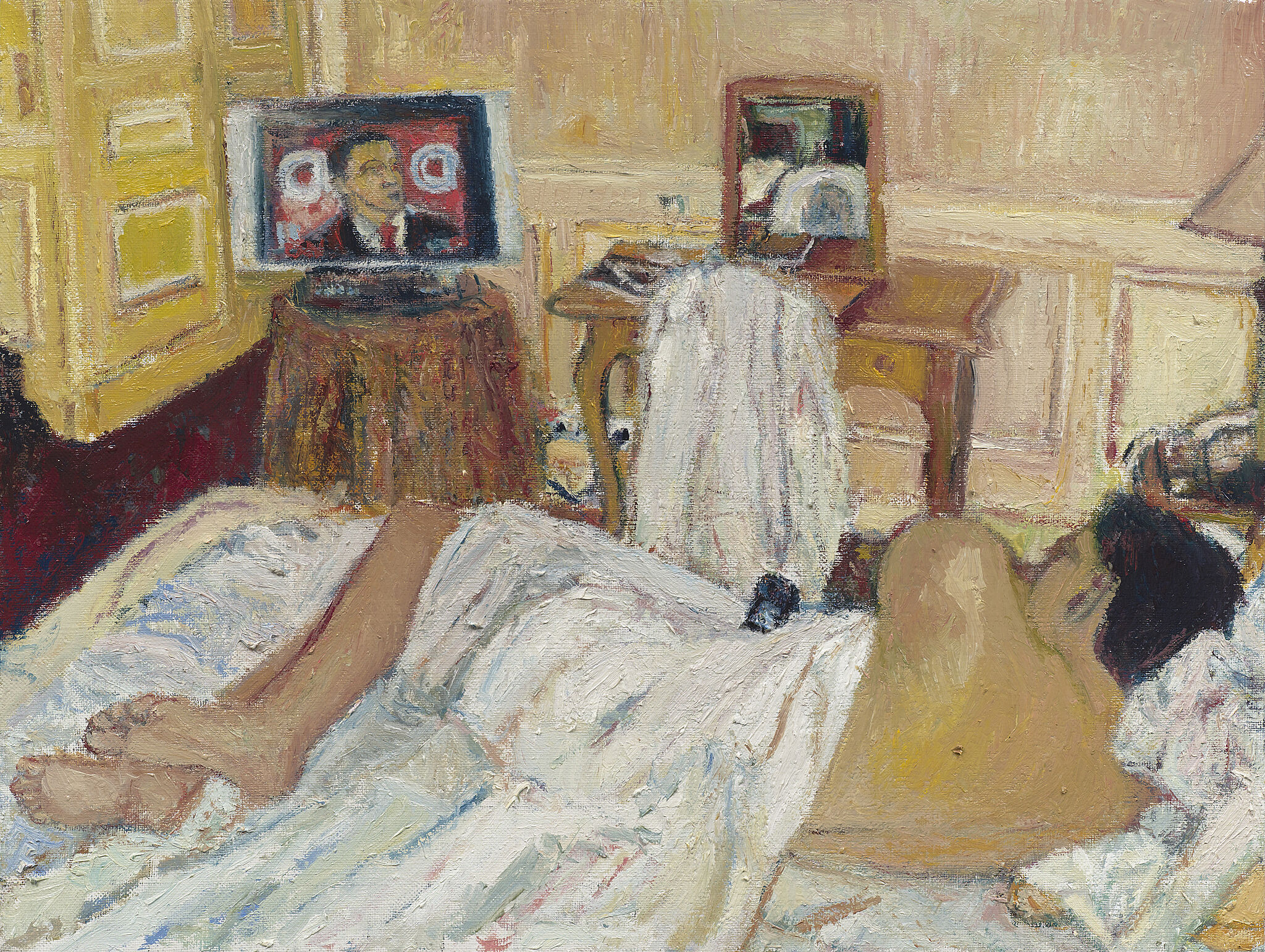 A painting of a person lying on bed and watching TV.