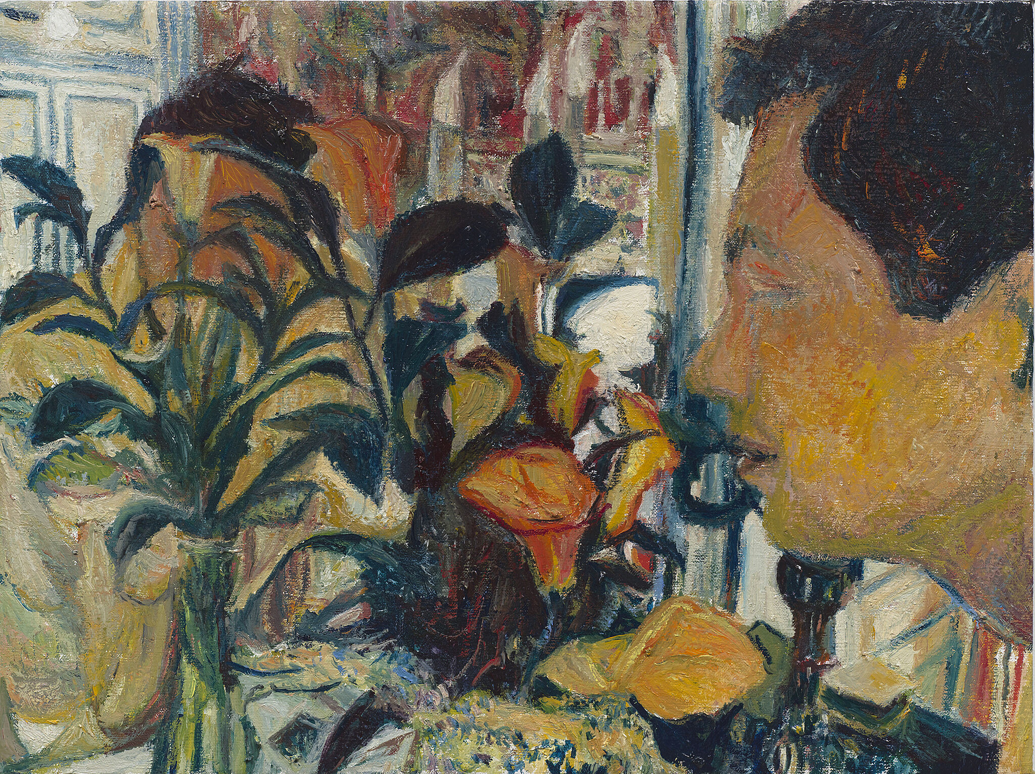 A painting of a man smelling flowers.