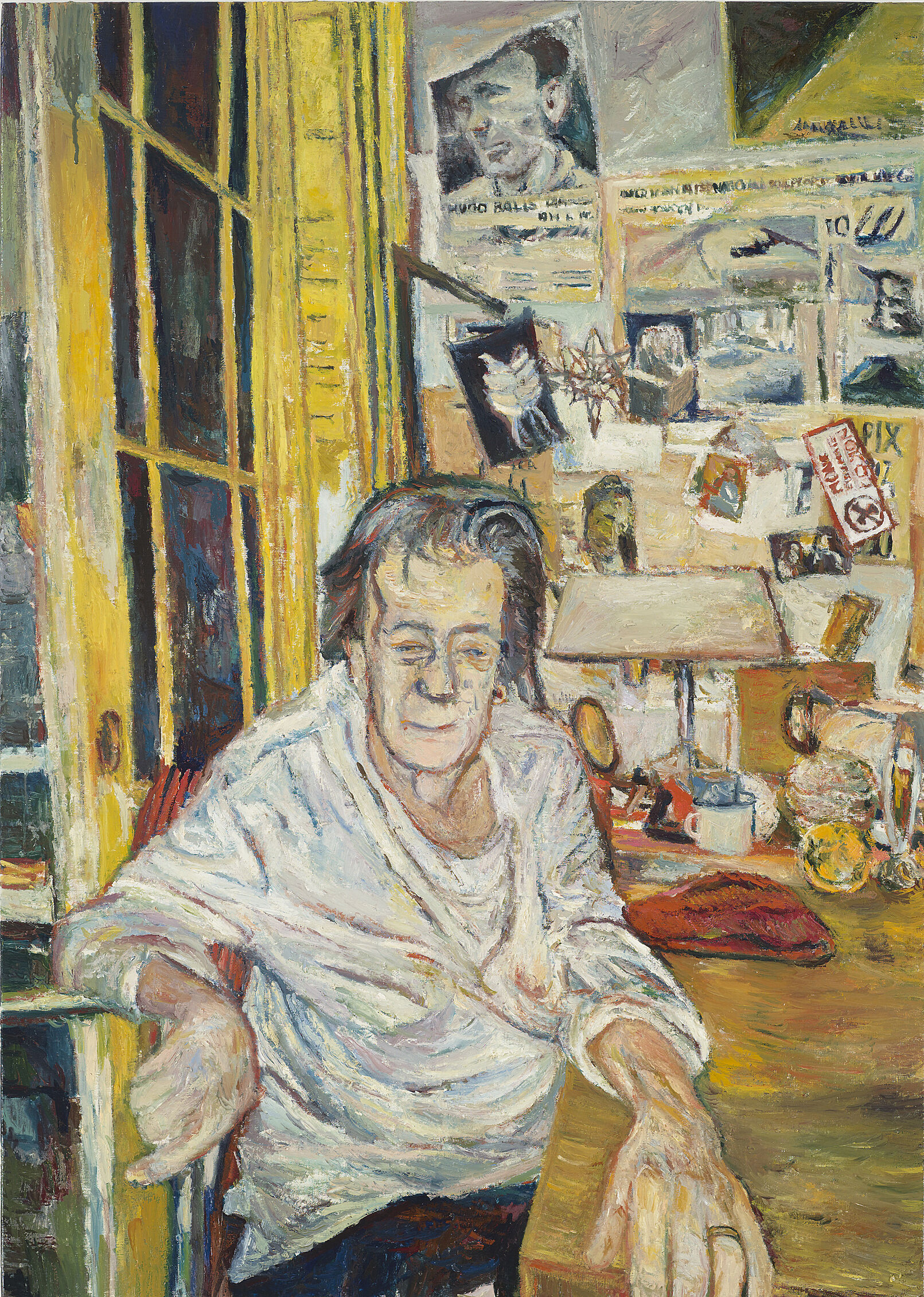 A painting of a woman sitting in a study.