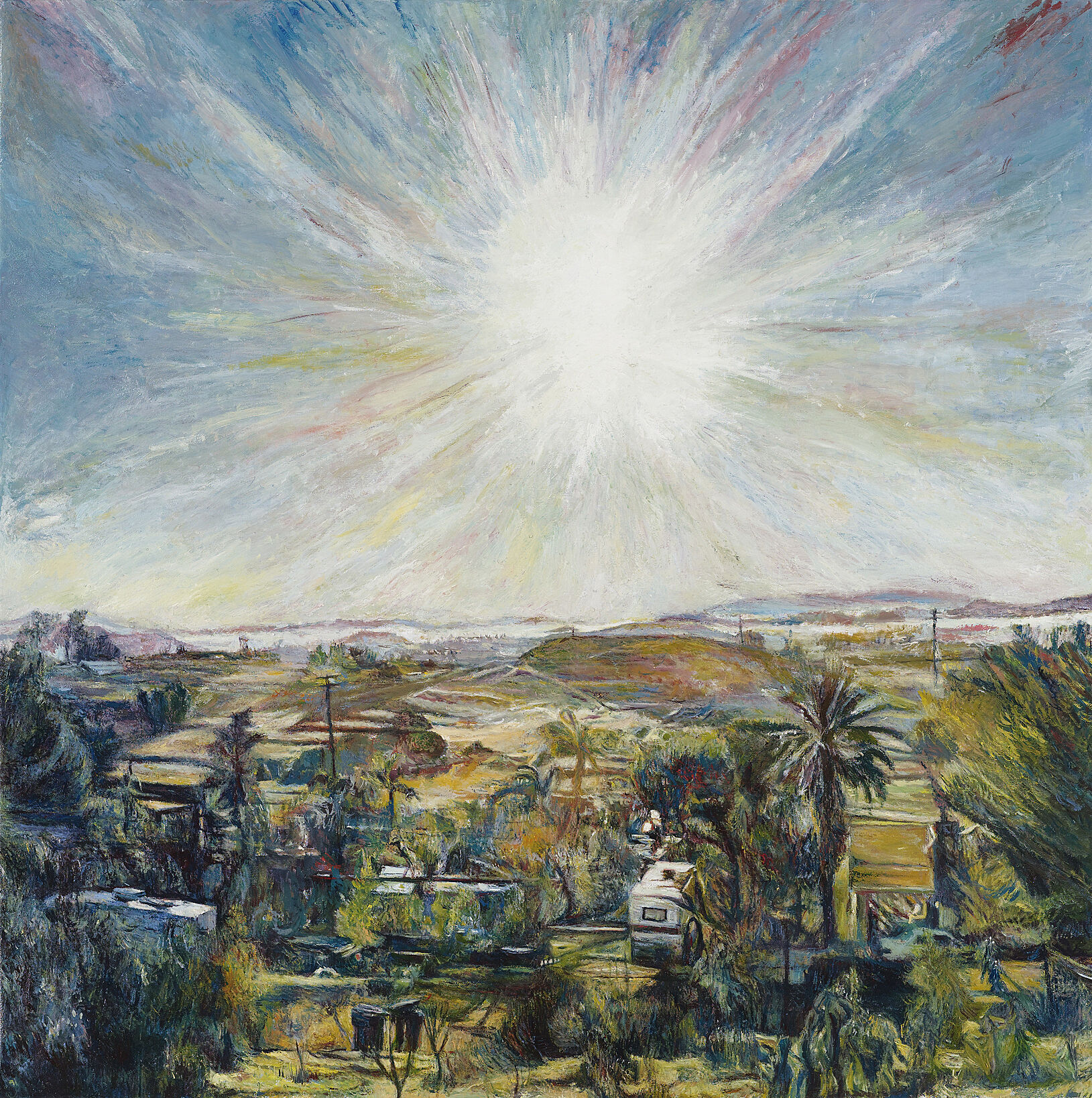 A painting of a sun shining over a city.