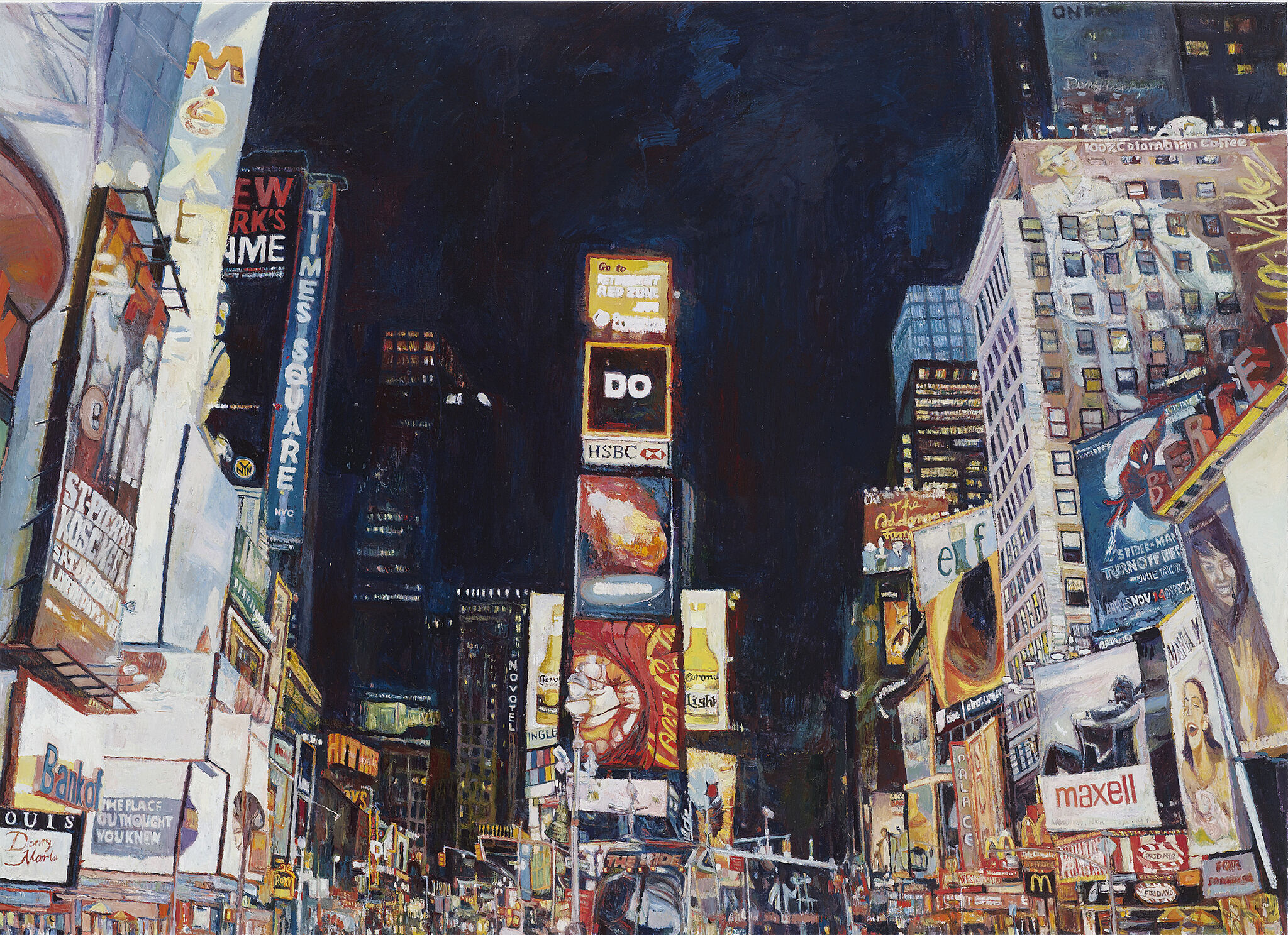A painting of Time Square at night.