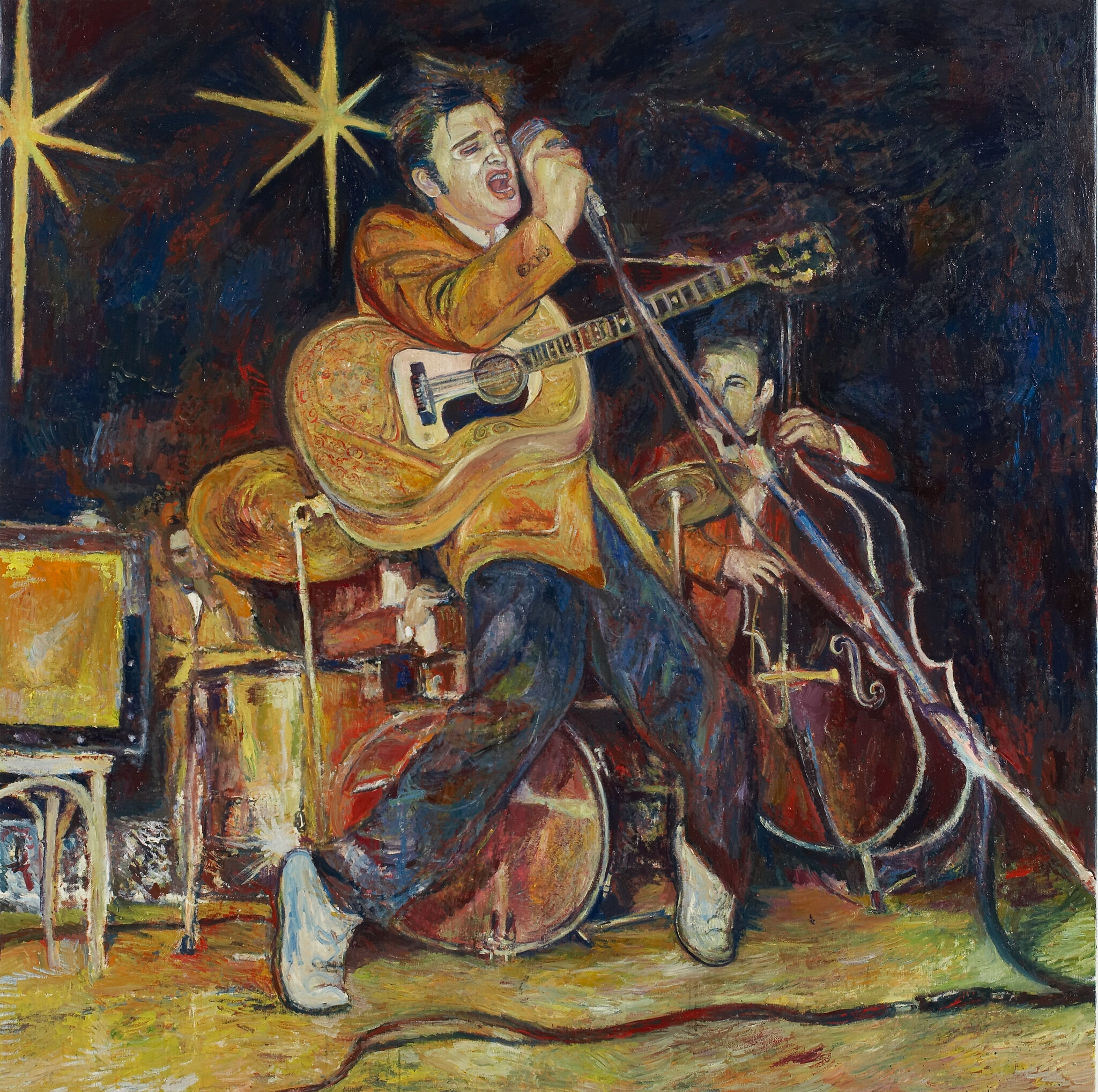 A painting of Elvis Presley singing.