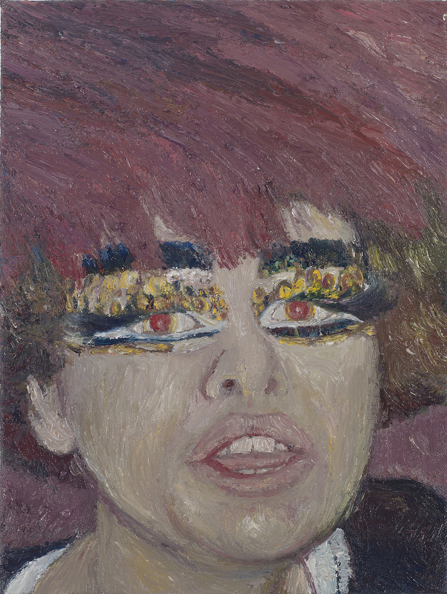 A painting of a woman with dramatic makeup.