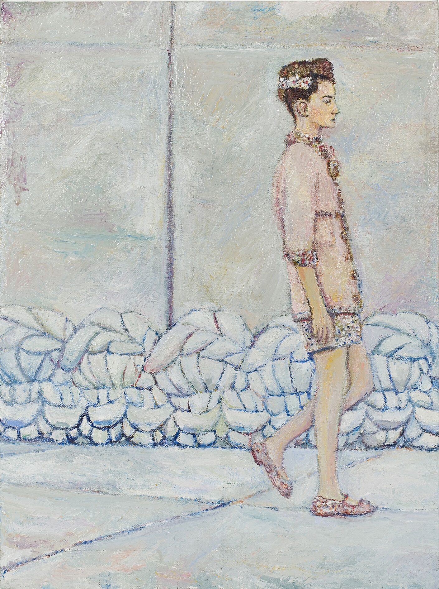A painting of a model in pink walking down the runway.