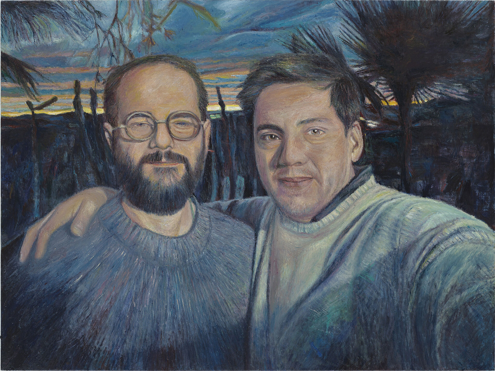 A painting of a selfie of two men.