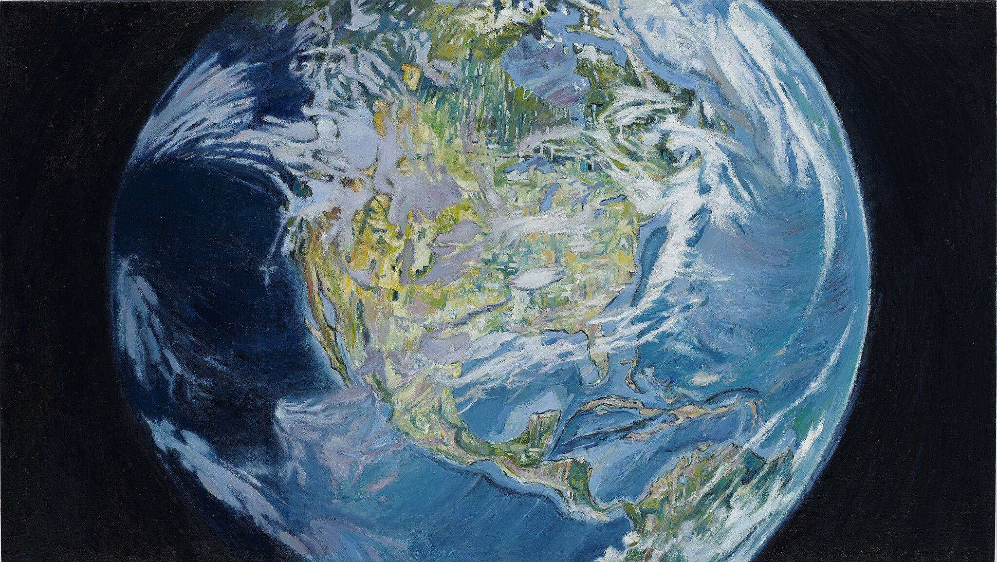A painting of North America from Space.
