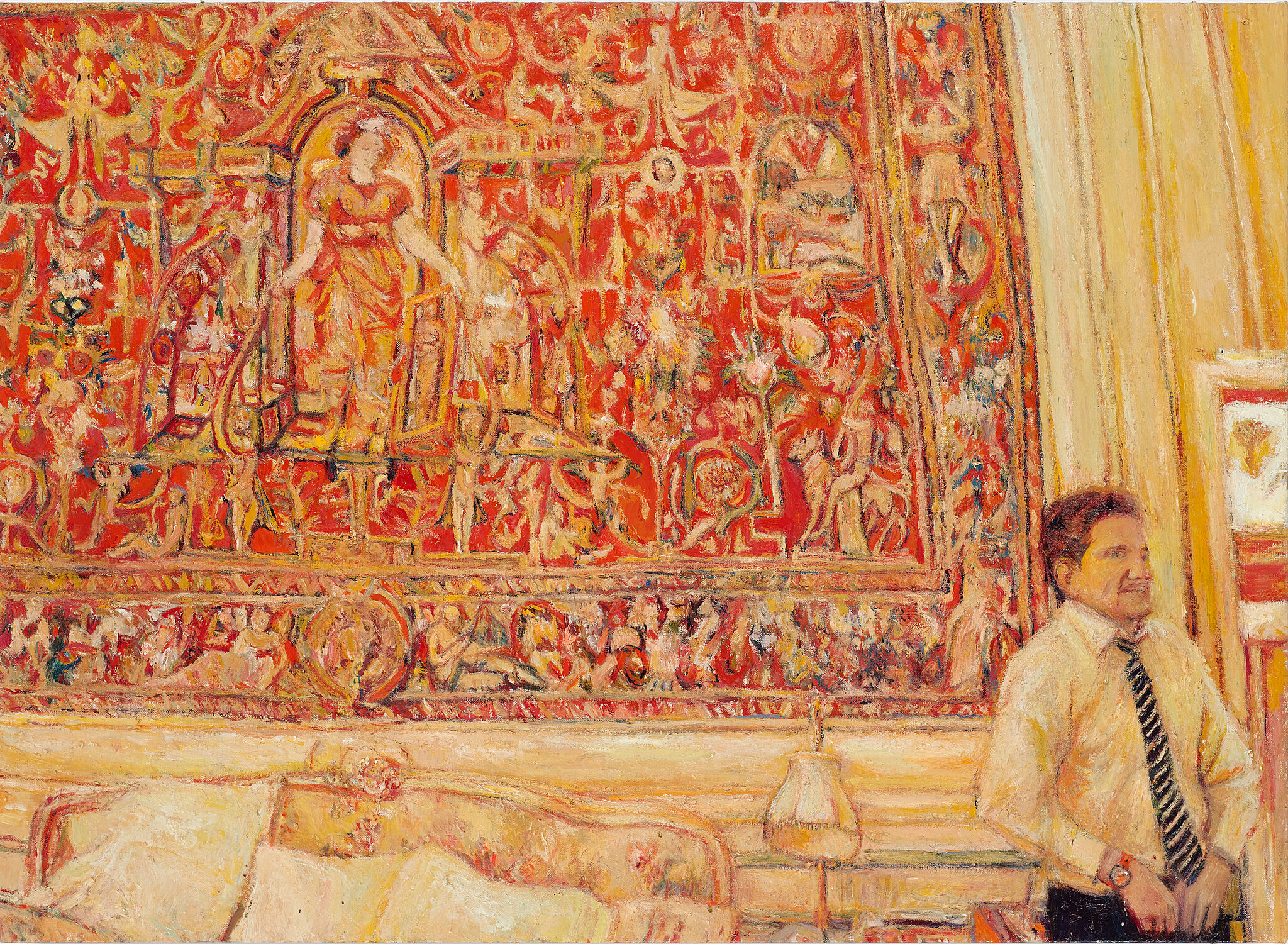 A painting of a man standing next to a bed.