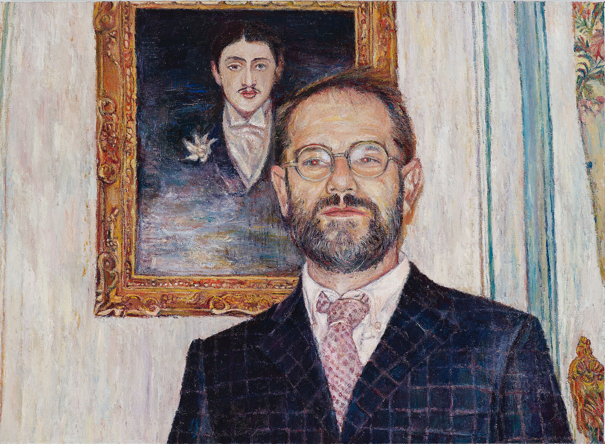 A painting of a man standing in front of a painting.
