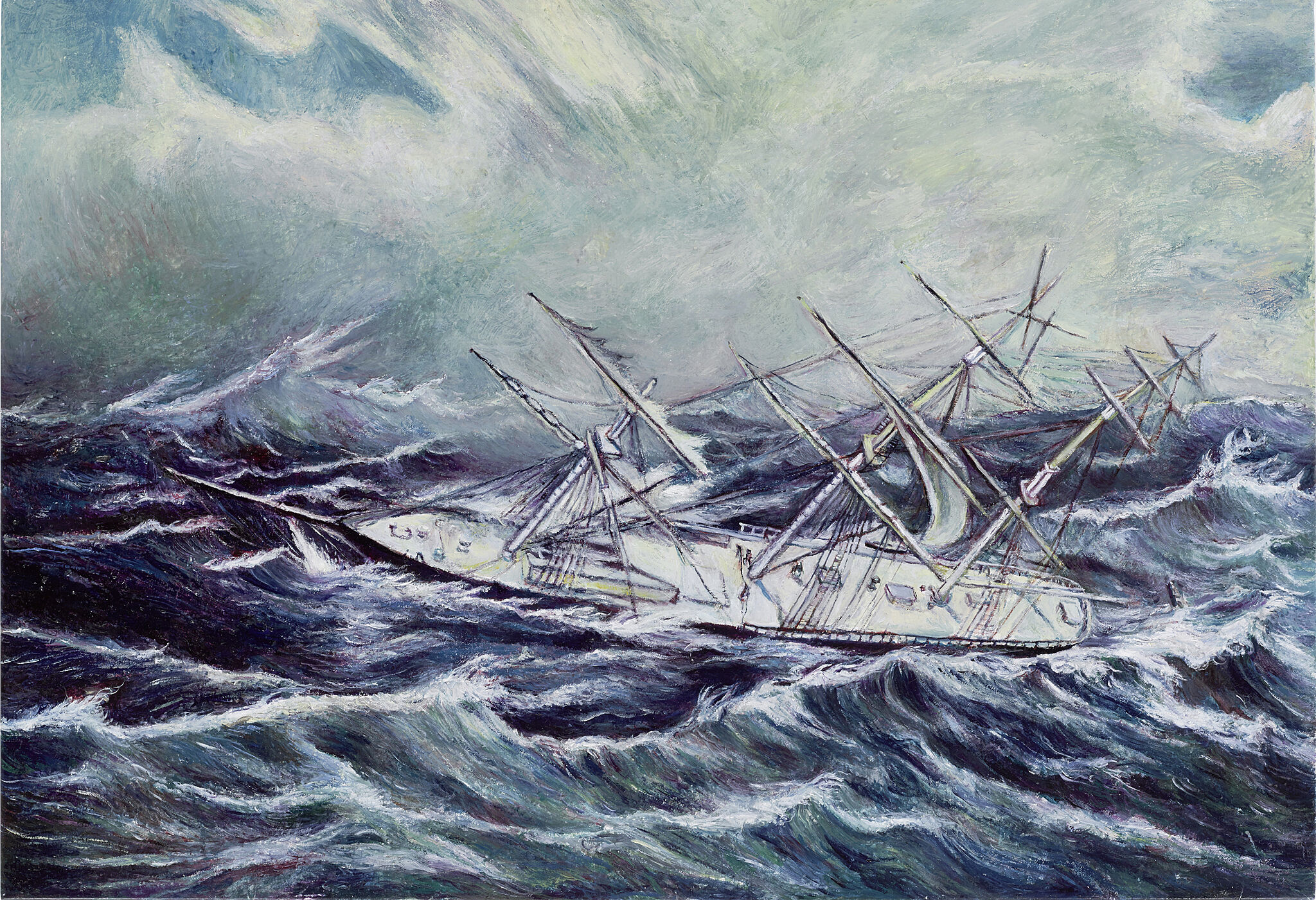 A painting of a boat on a rolling sea.