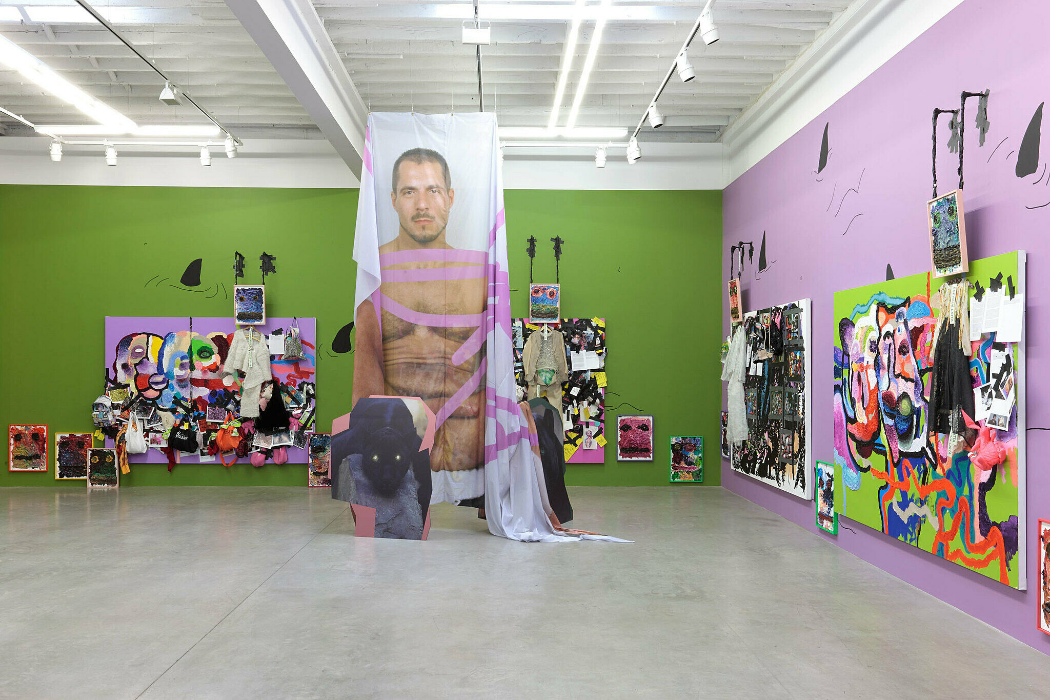 An installation view of Bjarne Melgaard: Ignorant Transparencies.