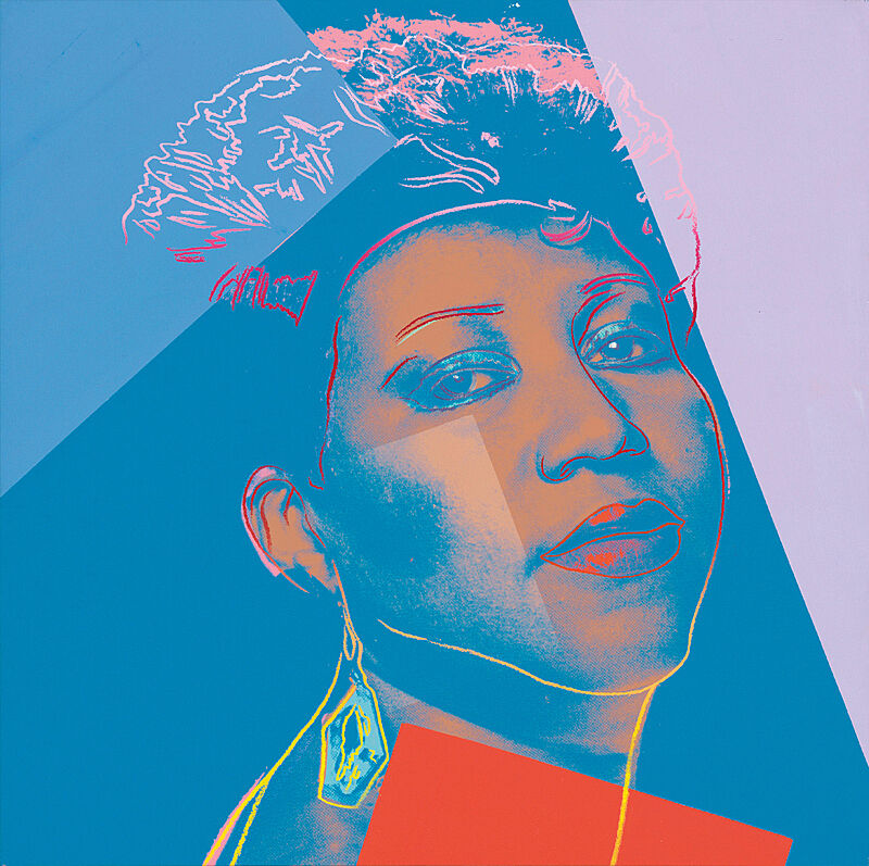 A colorful painted photograph of Aretha Franklin.