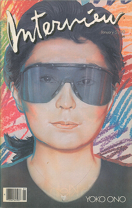 Yoko Ono on the cover of interview magazine.