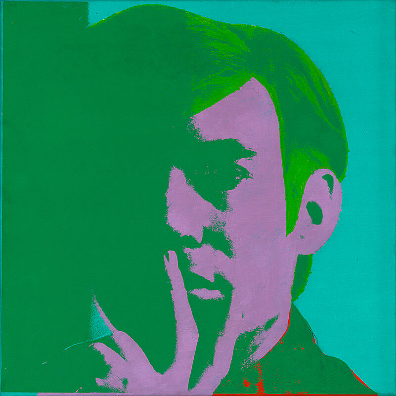 a green, pink and blue tinted self-portrait of Andy Warhol