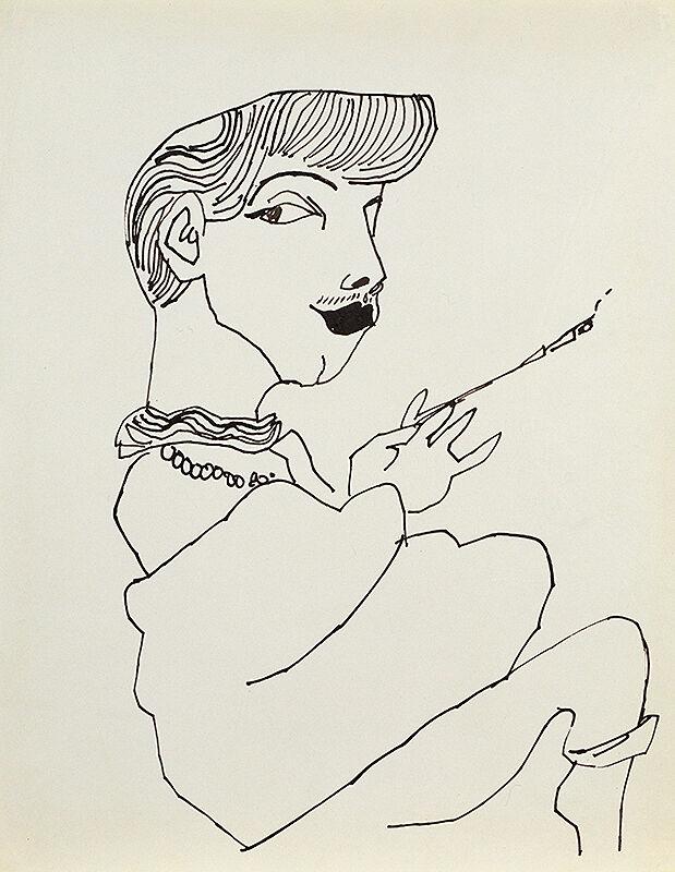 A line drawing of Otto Fenn, smoking a cigarette