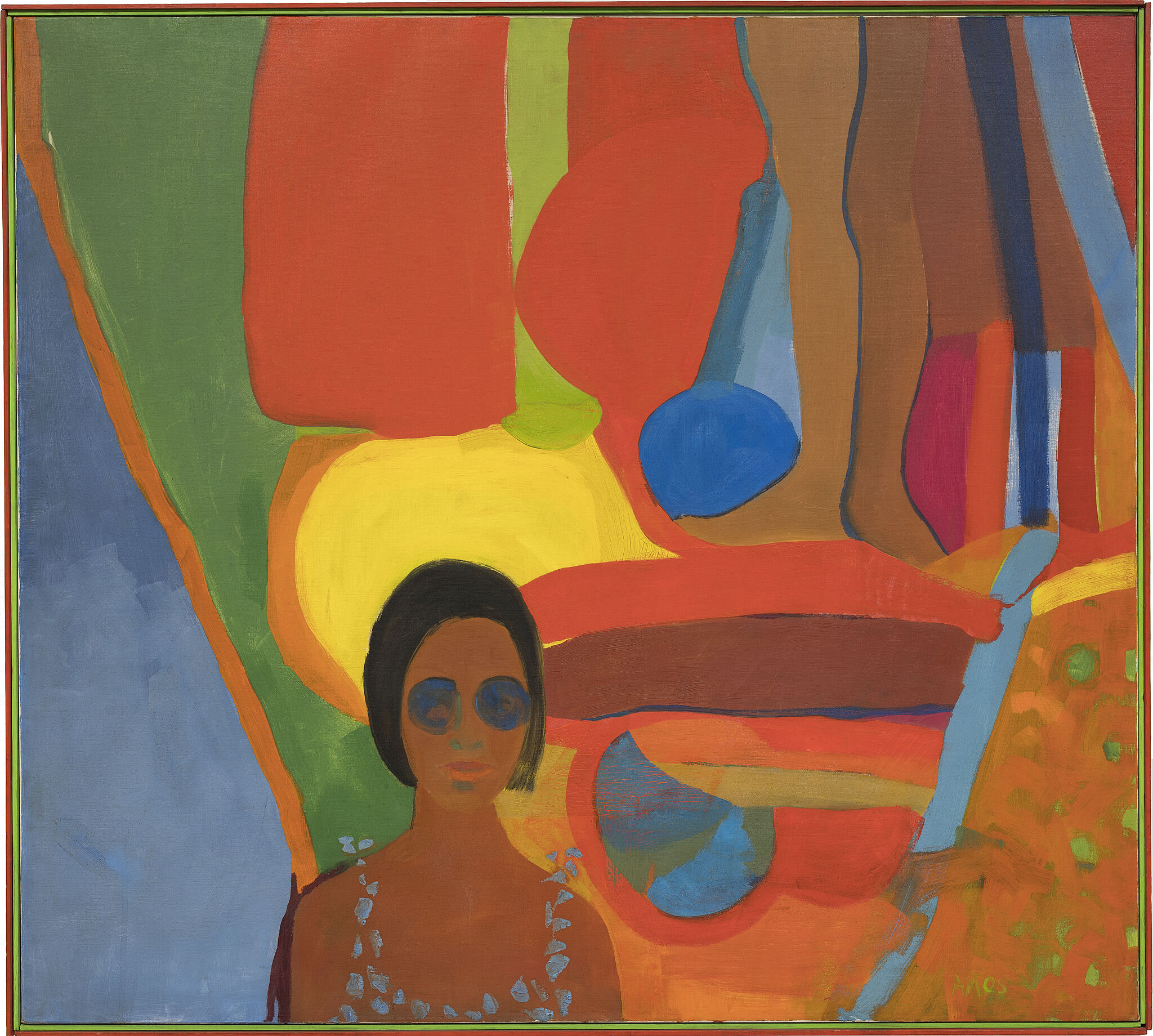 Painting of a woman and legs in bright colors.
