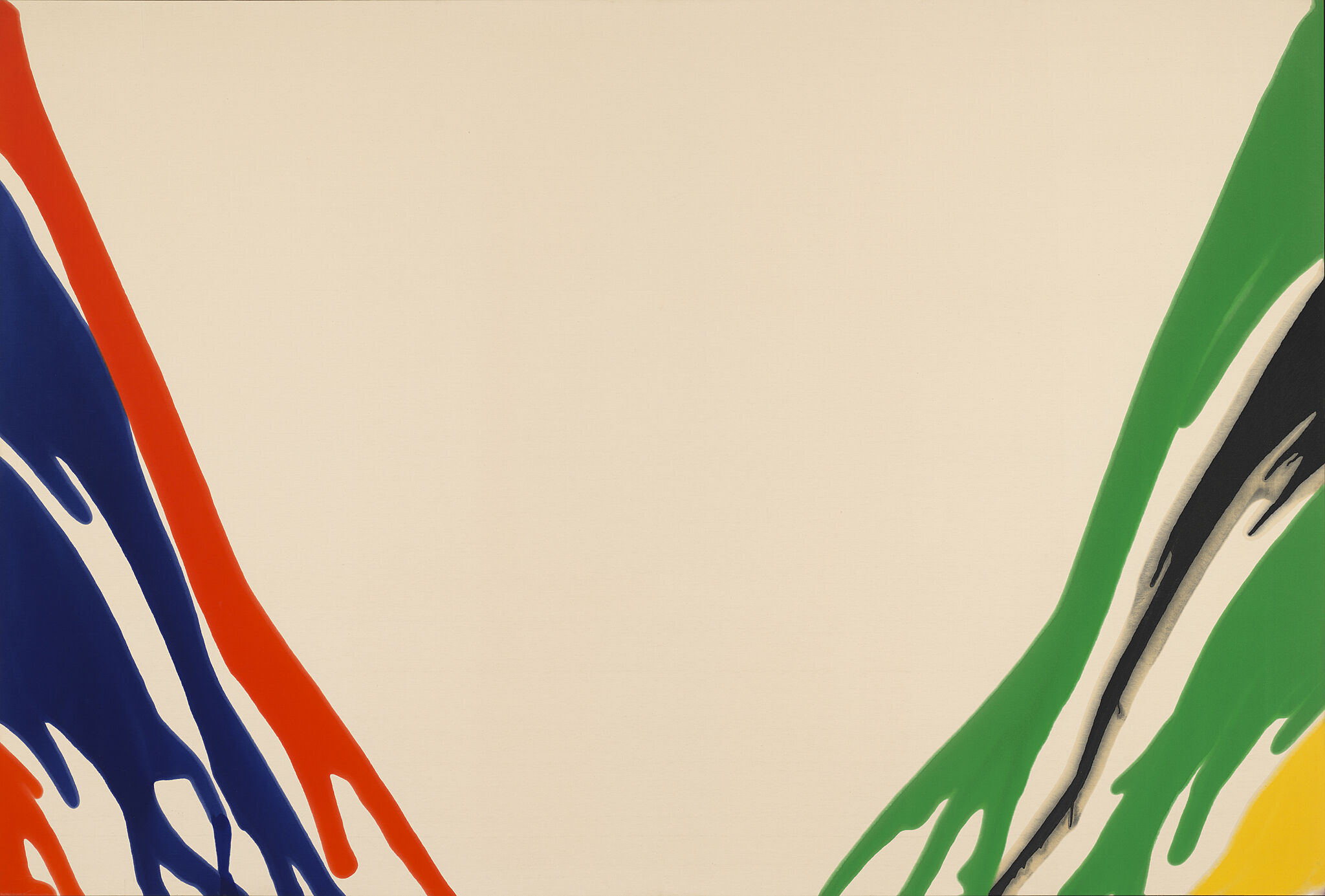 Abstract painting with blue and red paint on the left side and green, black, and yellow paint on the run, running towards the bottom center of the canvas.
