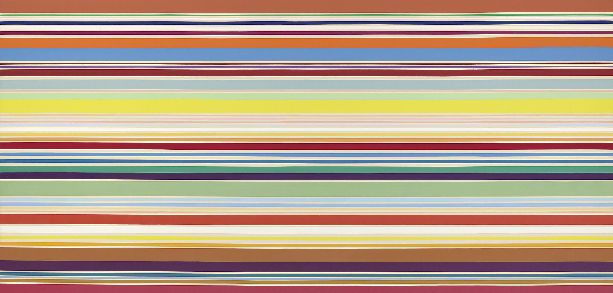 A painting of multicolored horizontal stripes.