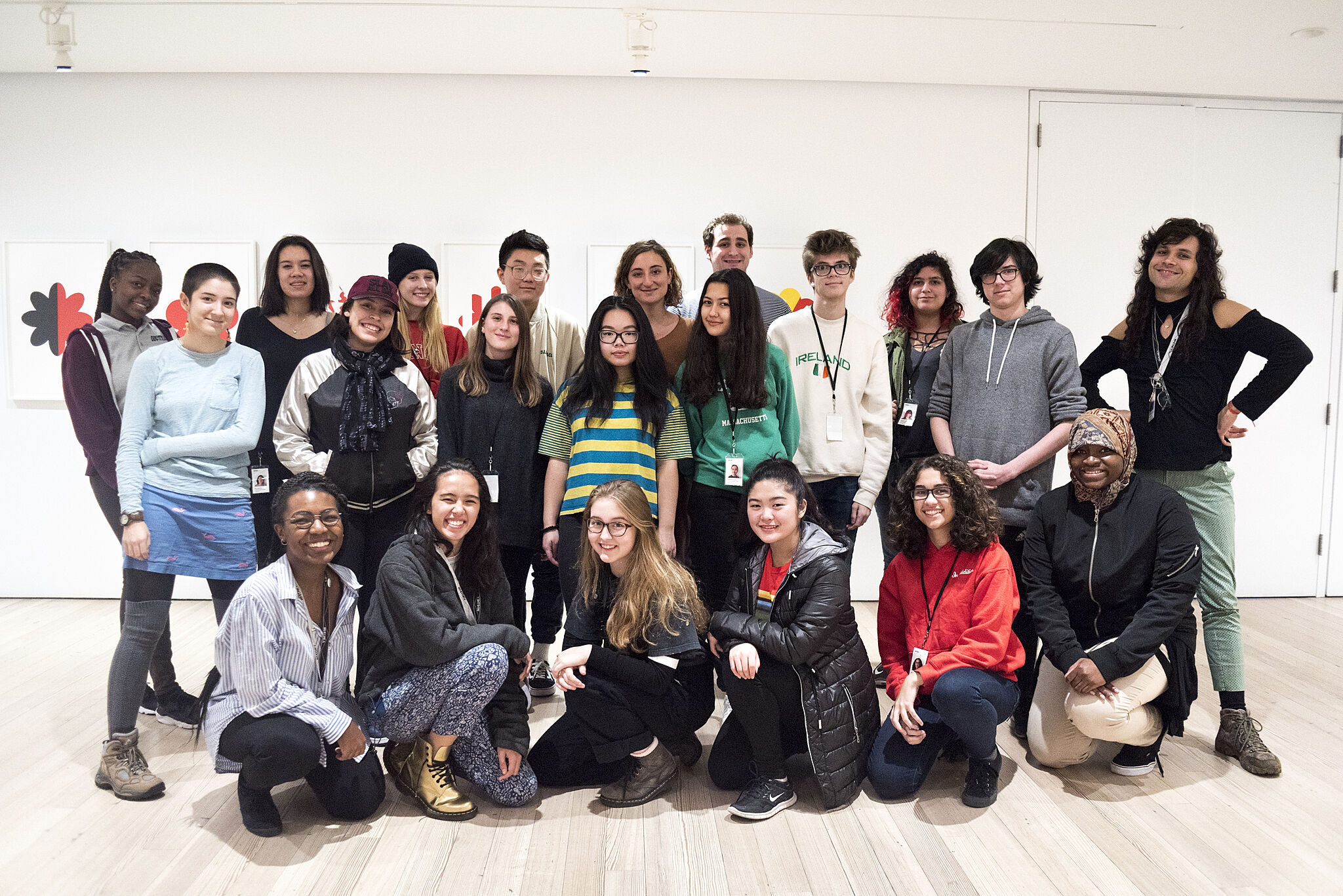 YI Artists pose with Willa Nasatir.