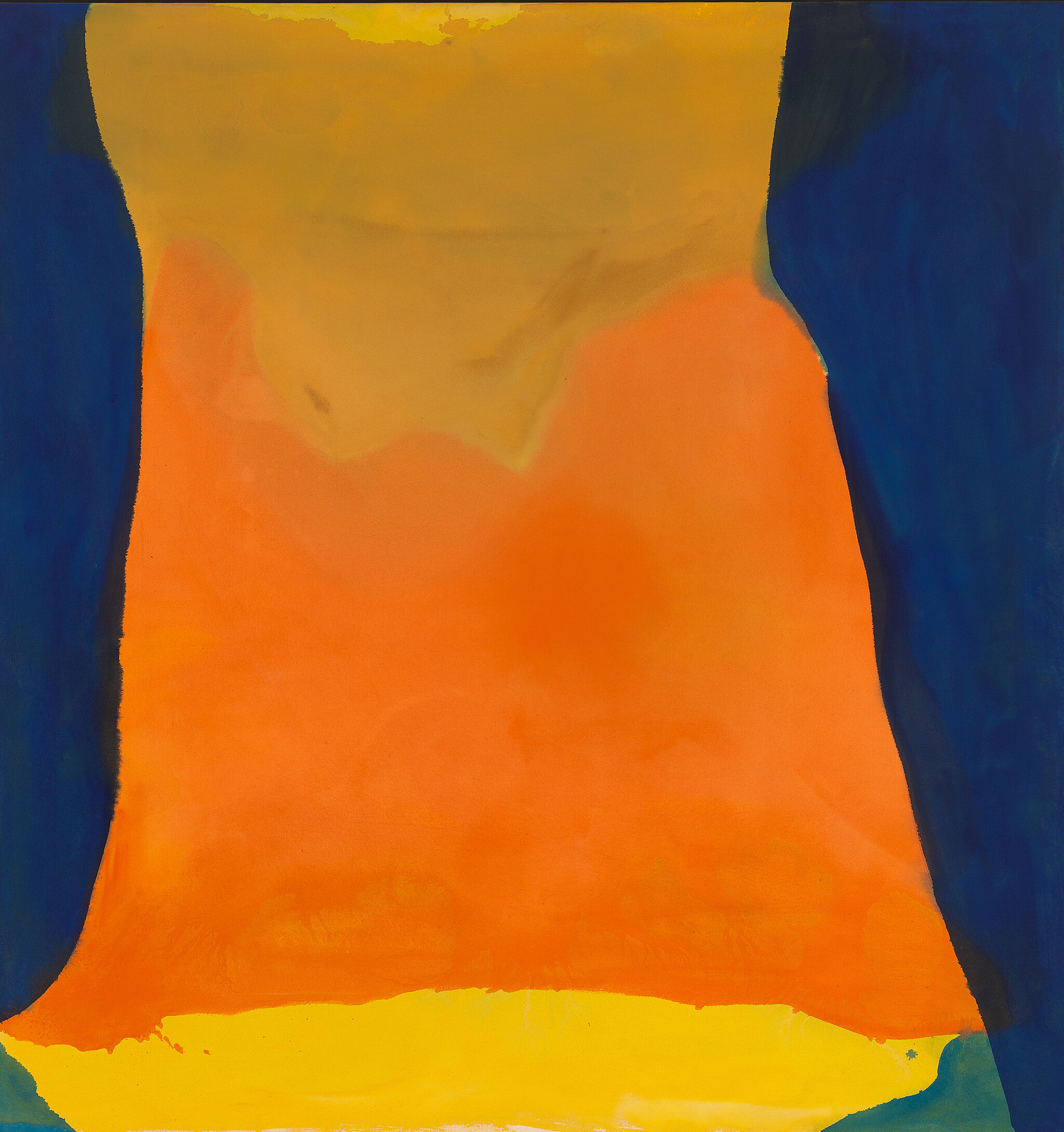 An abstract painting depicting organic shapes in varying shades of orange and yellow on a deep blue background