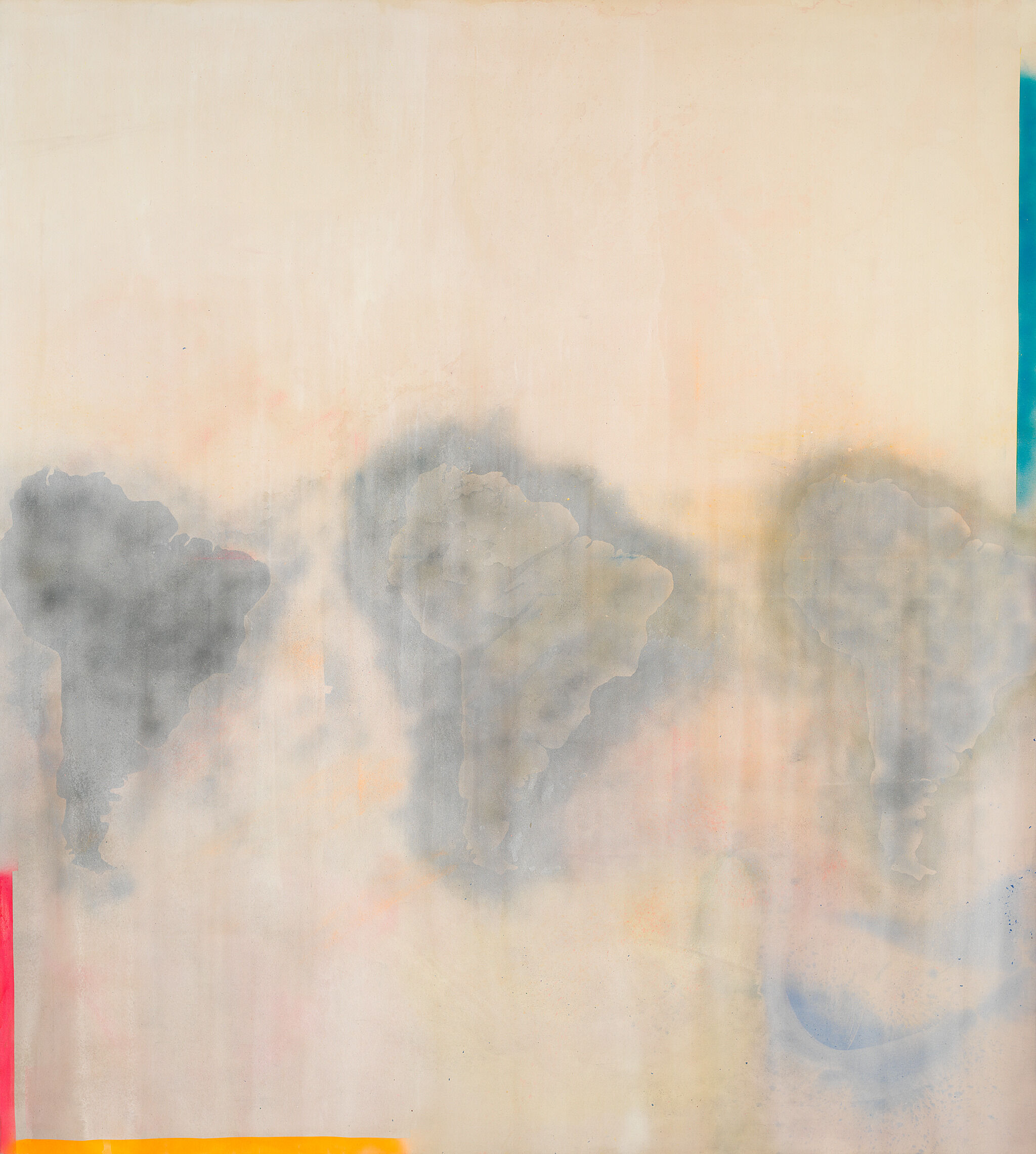 A painting that depictes the shape of South America three times, under diluted color washes