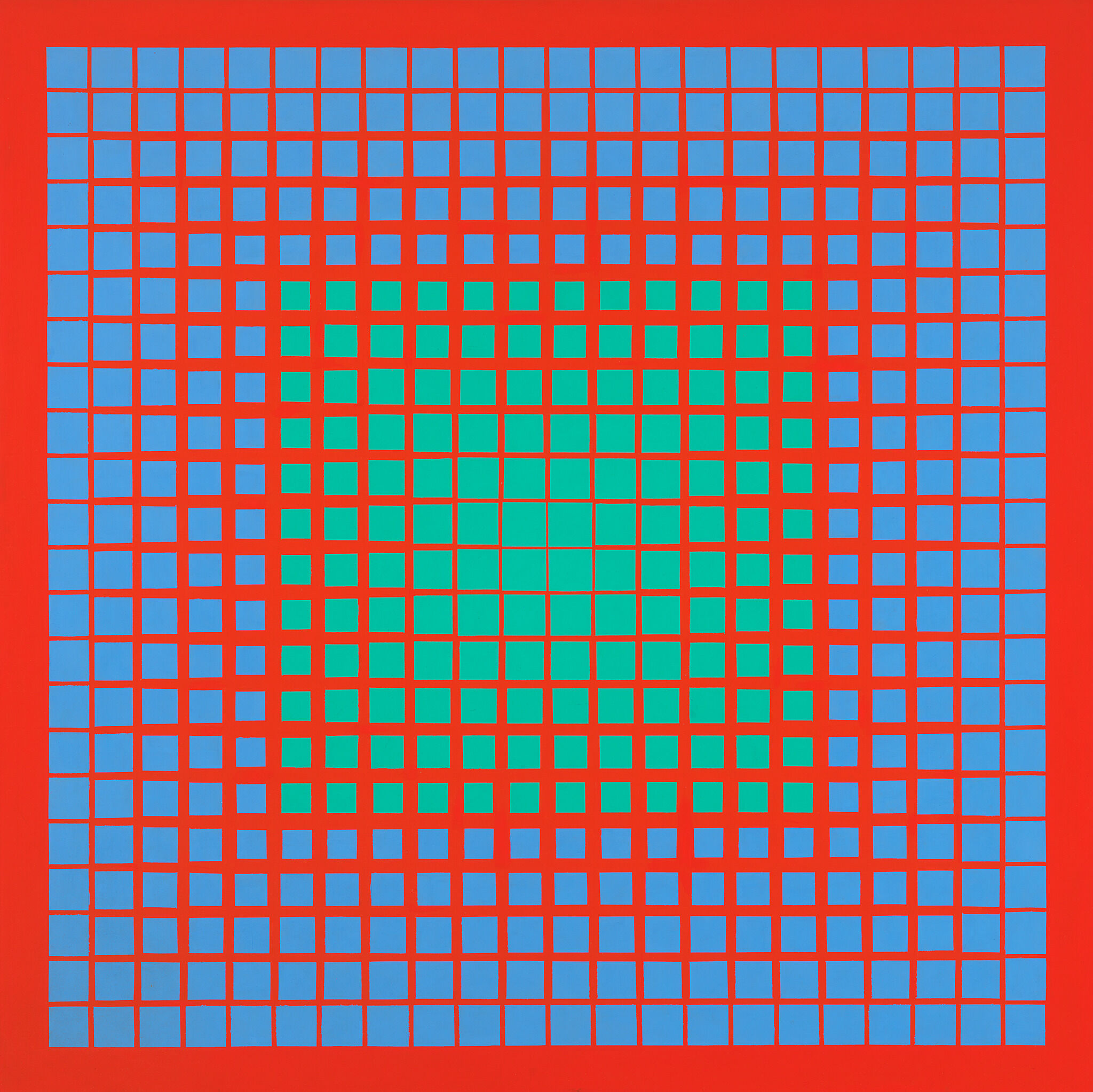 An abstract painting with a bright red background and pattern of green and blue squares
