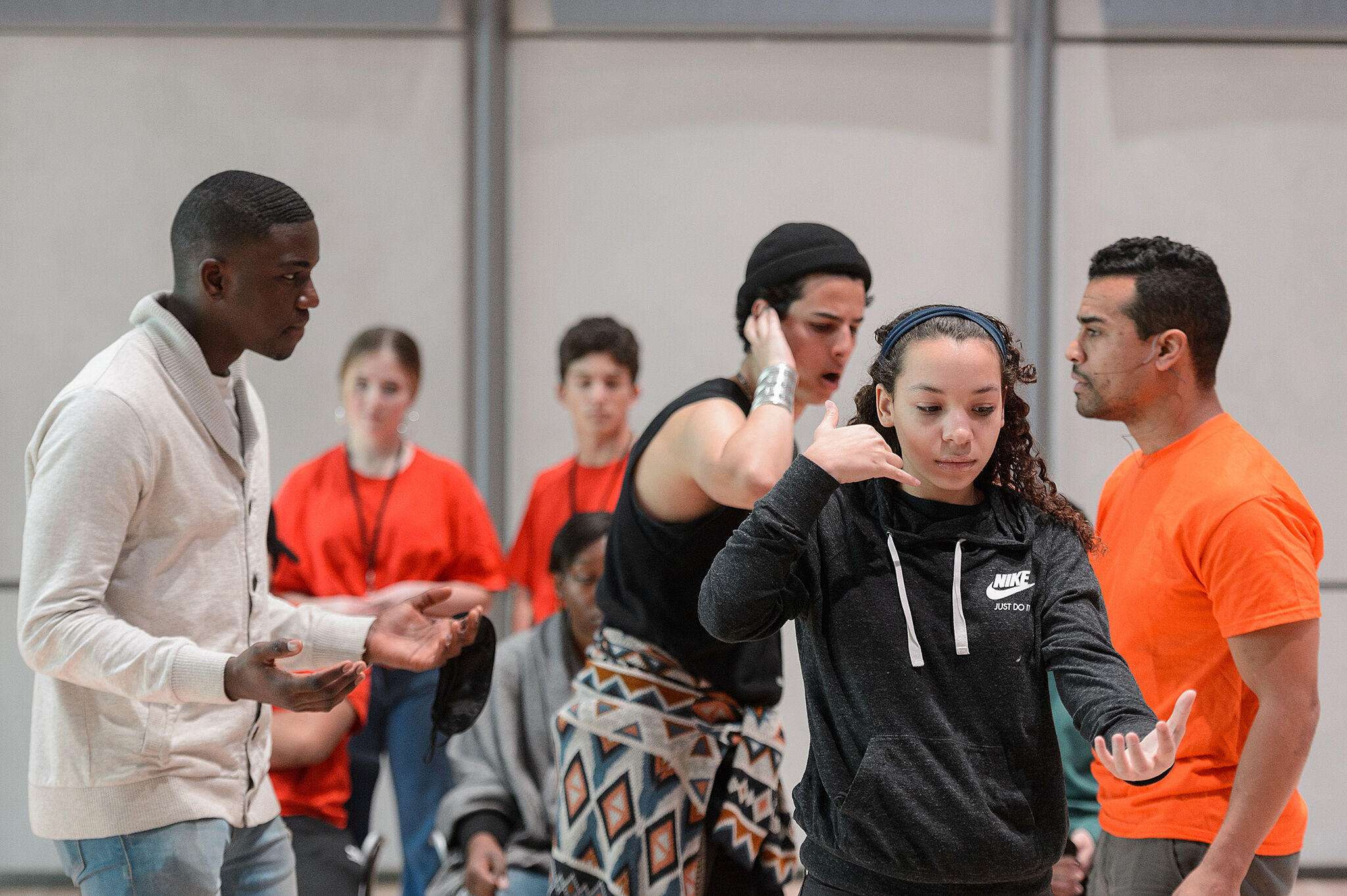 Instructor, Shaun Leonardo, instructs young dancers.