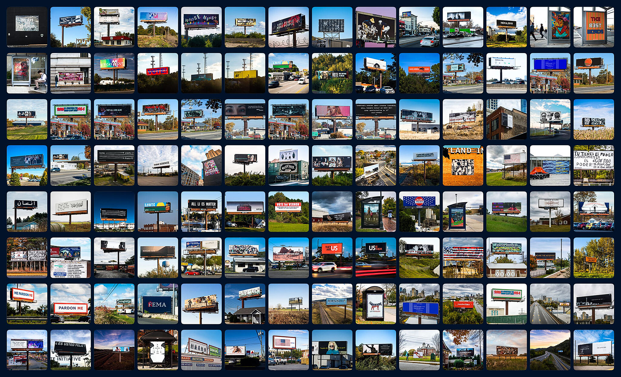 A 14 by 8 grid of images depicting various billboards.