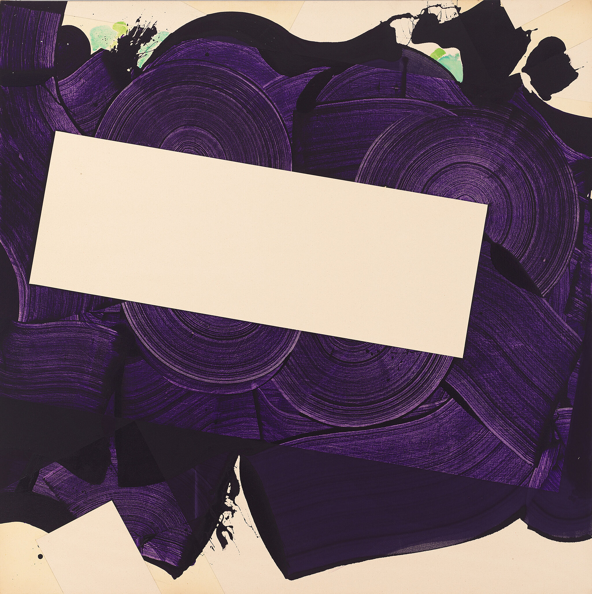 Atop a neutral tan background, there is a swirl of purple paint stroke. On top of the purple stroke, there is a neutral tan rectangle.