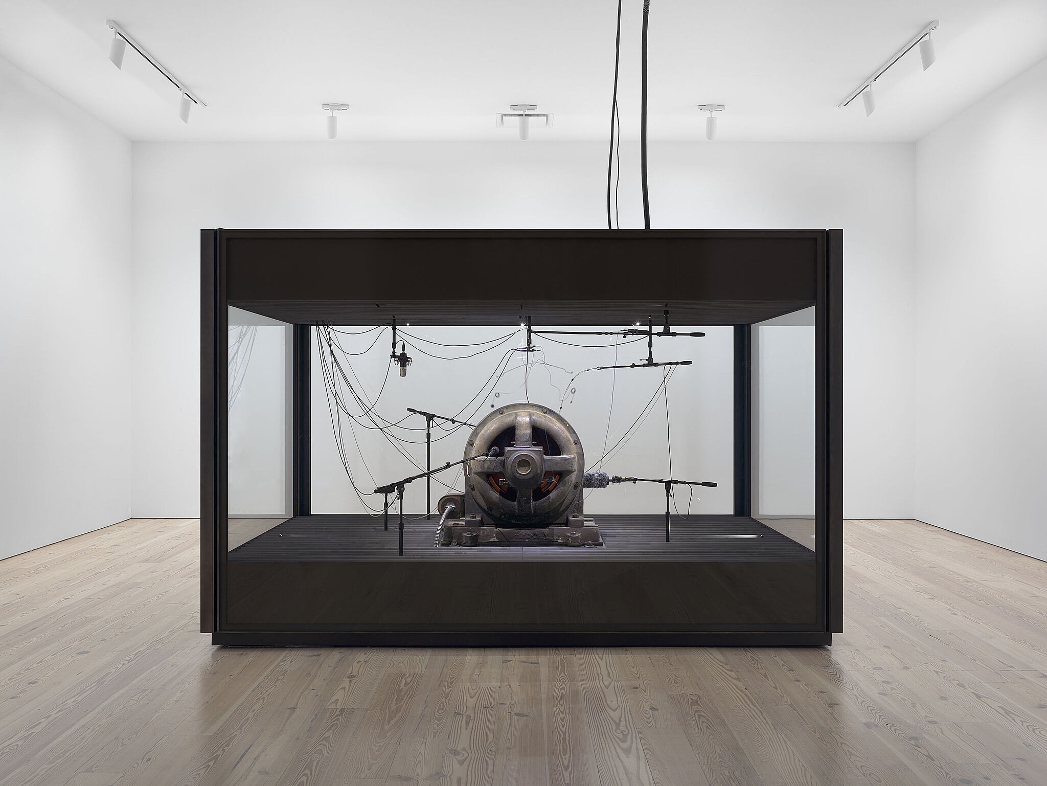 Installation view of Kevin Beasley: A view of a landscape, with a cotton gin motor inside of a glass chamber.