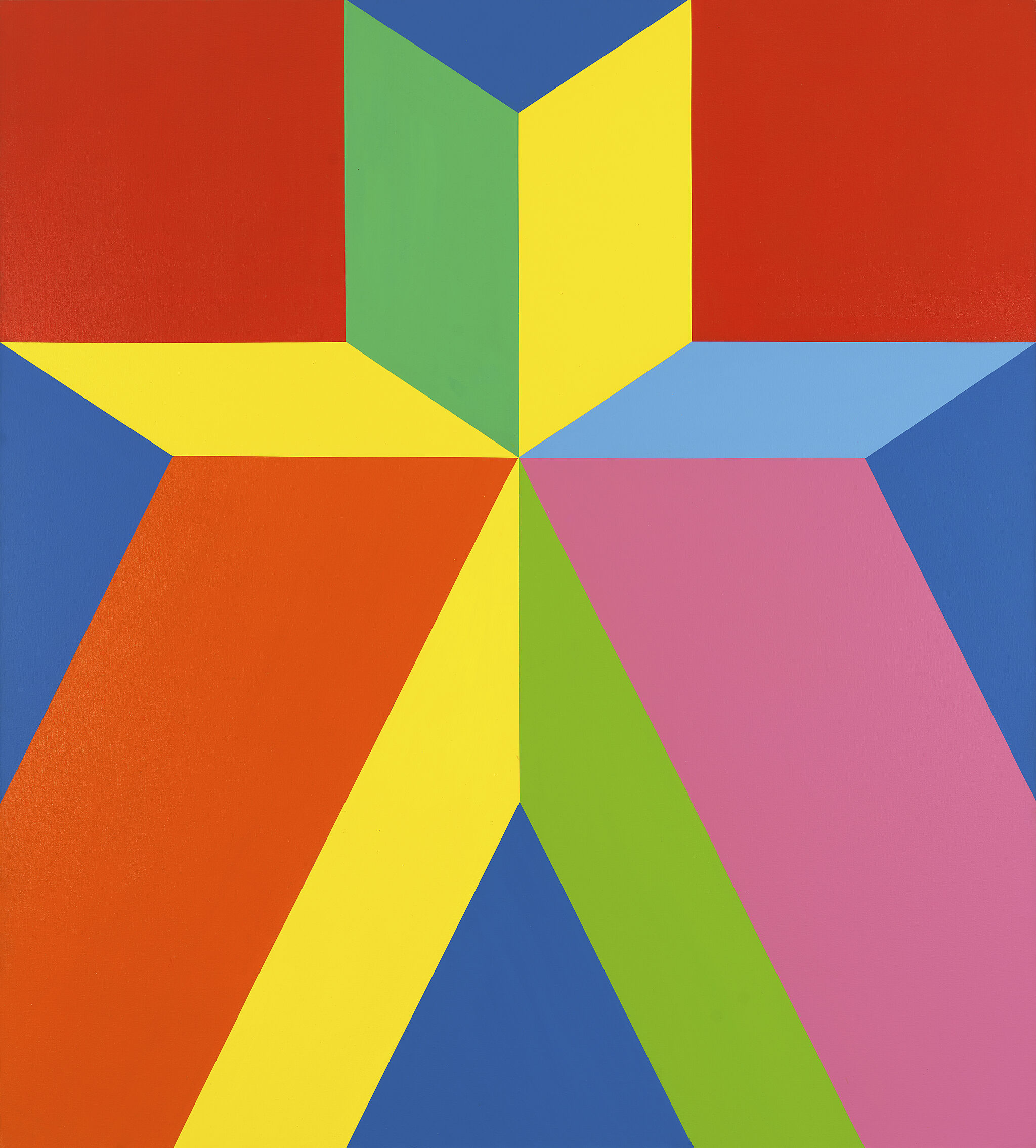 A painting featuring brightly colored shapes.
