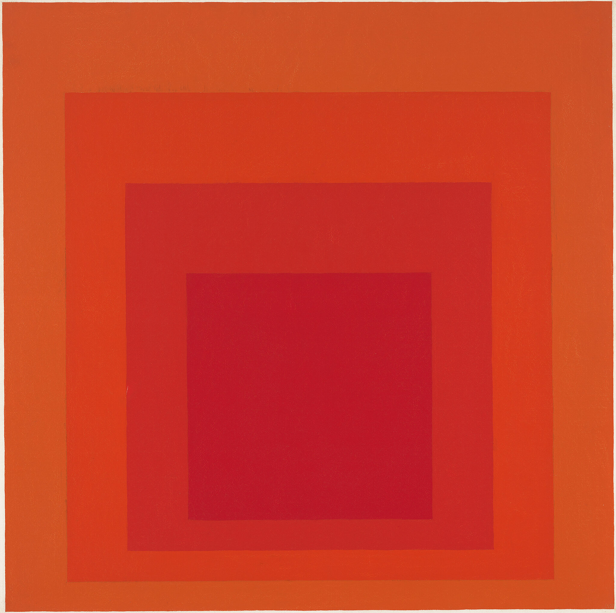 Concentric squares in shades of orange and red.