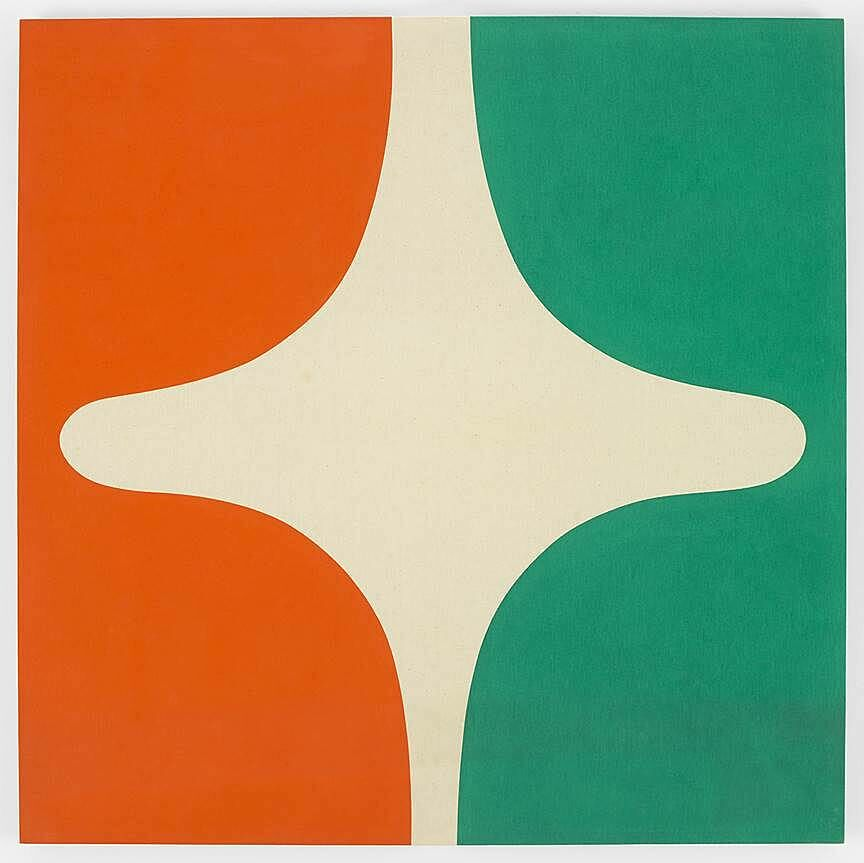 An abstract shape with teal and orange sides.