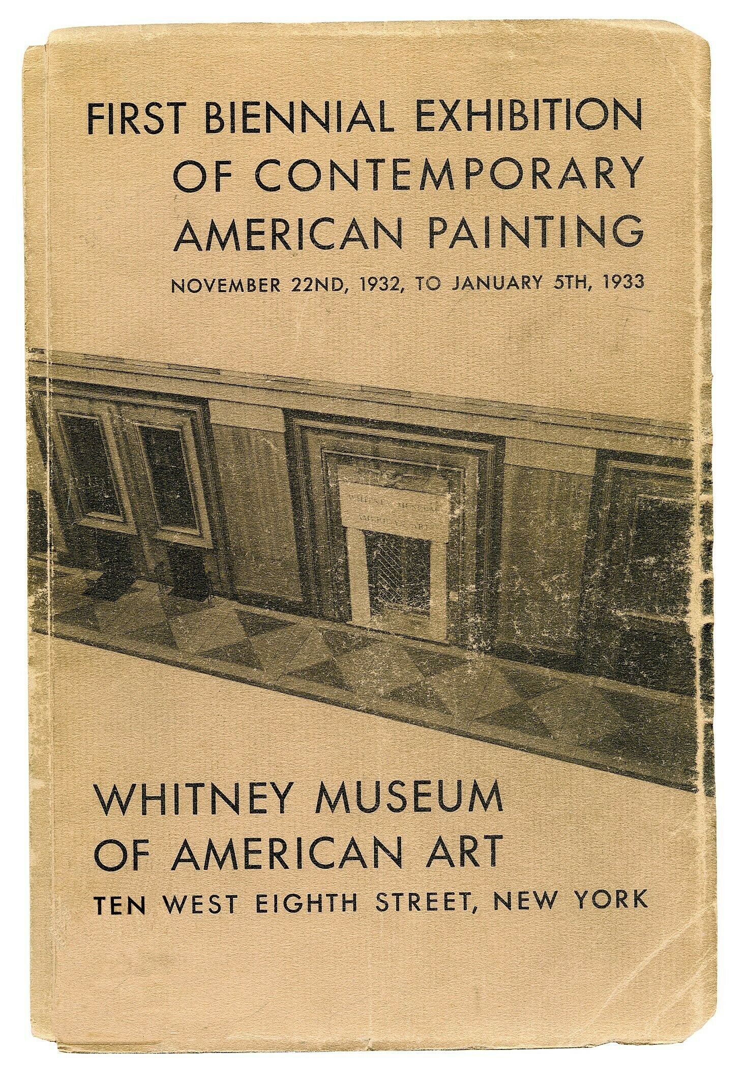 A photo of the 1932 Whitney Biennial exhibition catalogue