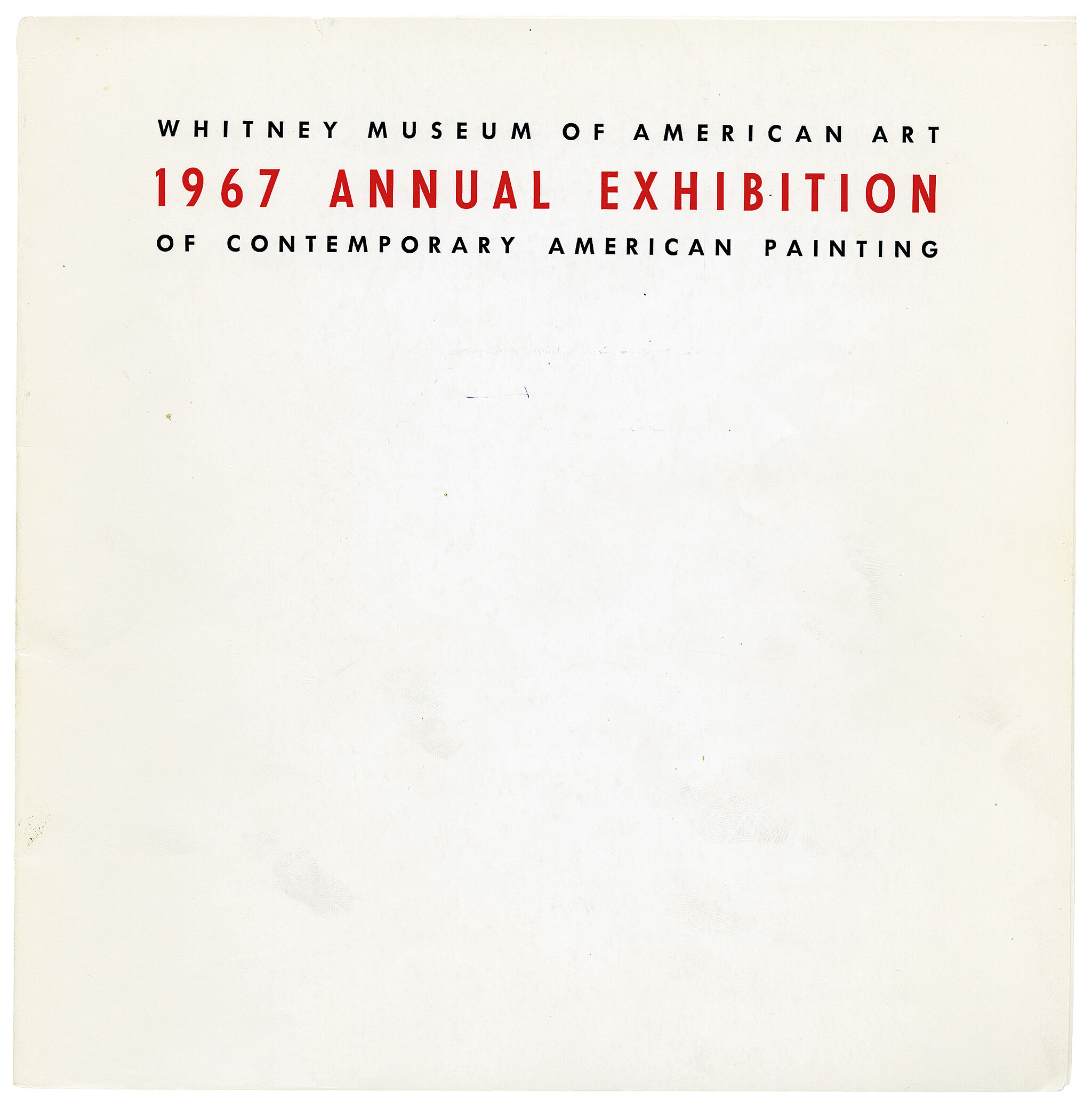Cover for 1967 Annual Exhibition of Contemporary Painting catalogue