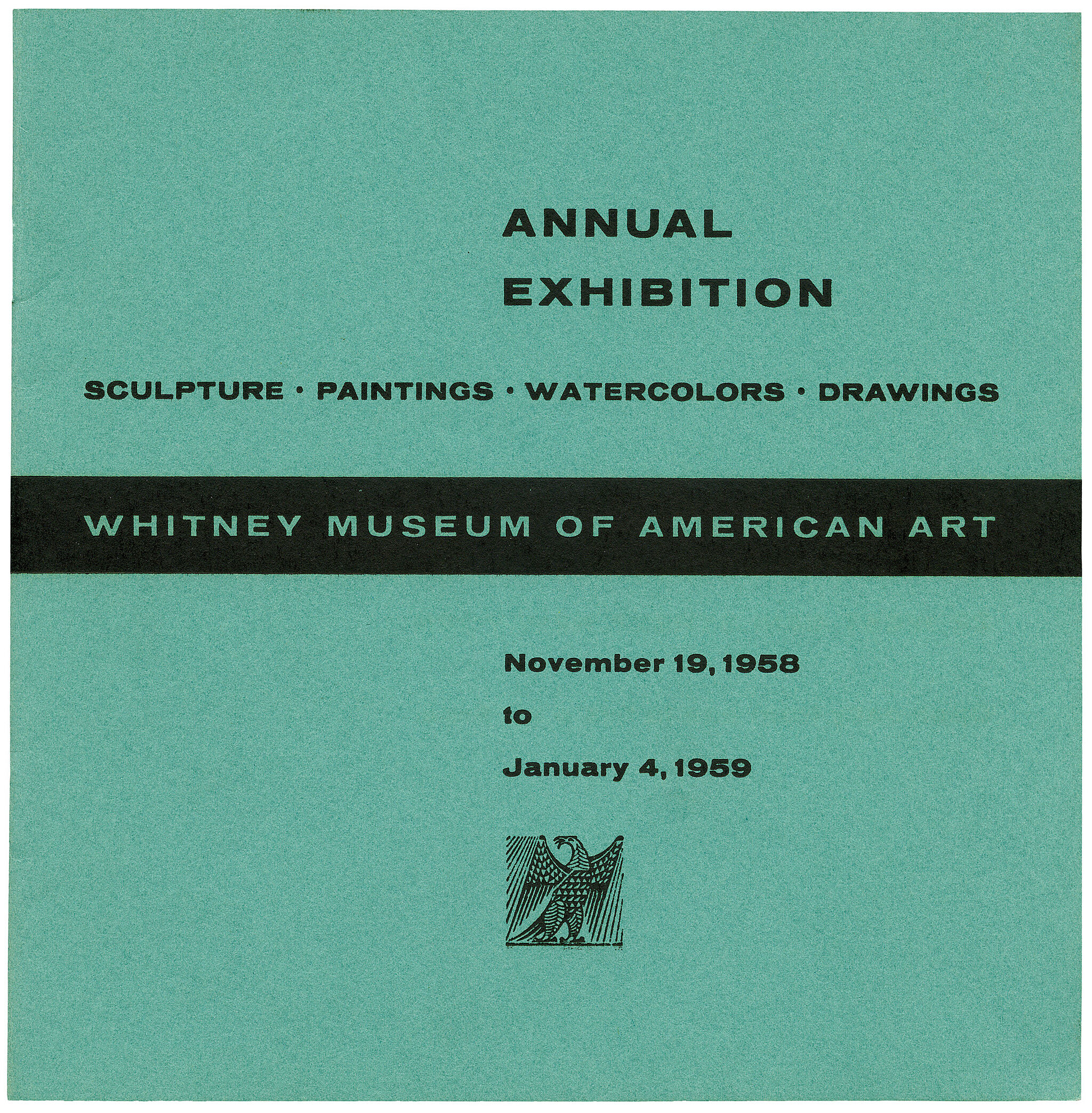 Catalogue cover for 1958 Annual Exhibition: Sculpture, Paintings, Watercolors, Drawings